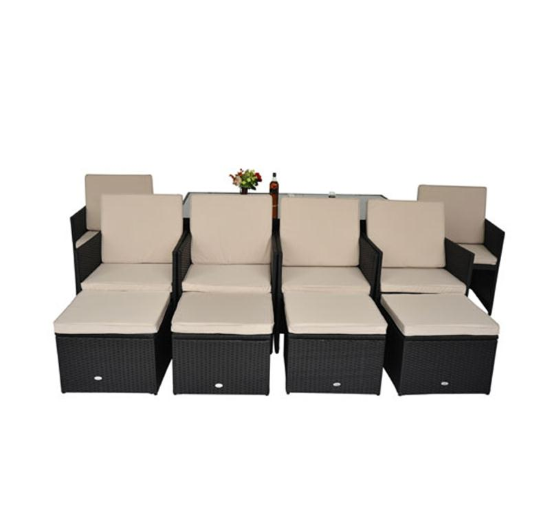Image of £492.99 Outsunny 11 Pc Rattan Dining Cube Sofa Set-Black / 11pc Outdoor Garden Furniture Aluminium Patio Set Weave Wicker 6 Chair Black 01-0105 5060348507871