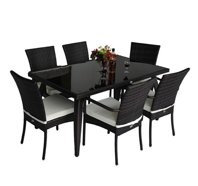 Image of £342.99 Outsunny 7 Pc Rattan Dining Set-Brown / Homcom Garden Furniture Aluminum Set Patio Rectangular Table with 6-Outdoor Chairs (7 Pieces) 6 Seater Wicker Home 01-0229 5055974802308