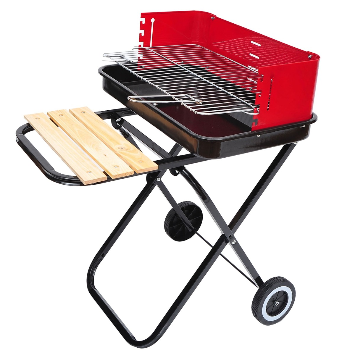 Outsunny Foldable Charcoal Trolley Barbecue Grill W/ Wheels-Red & Black