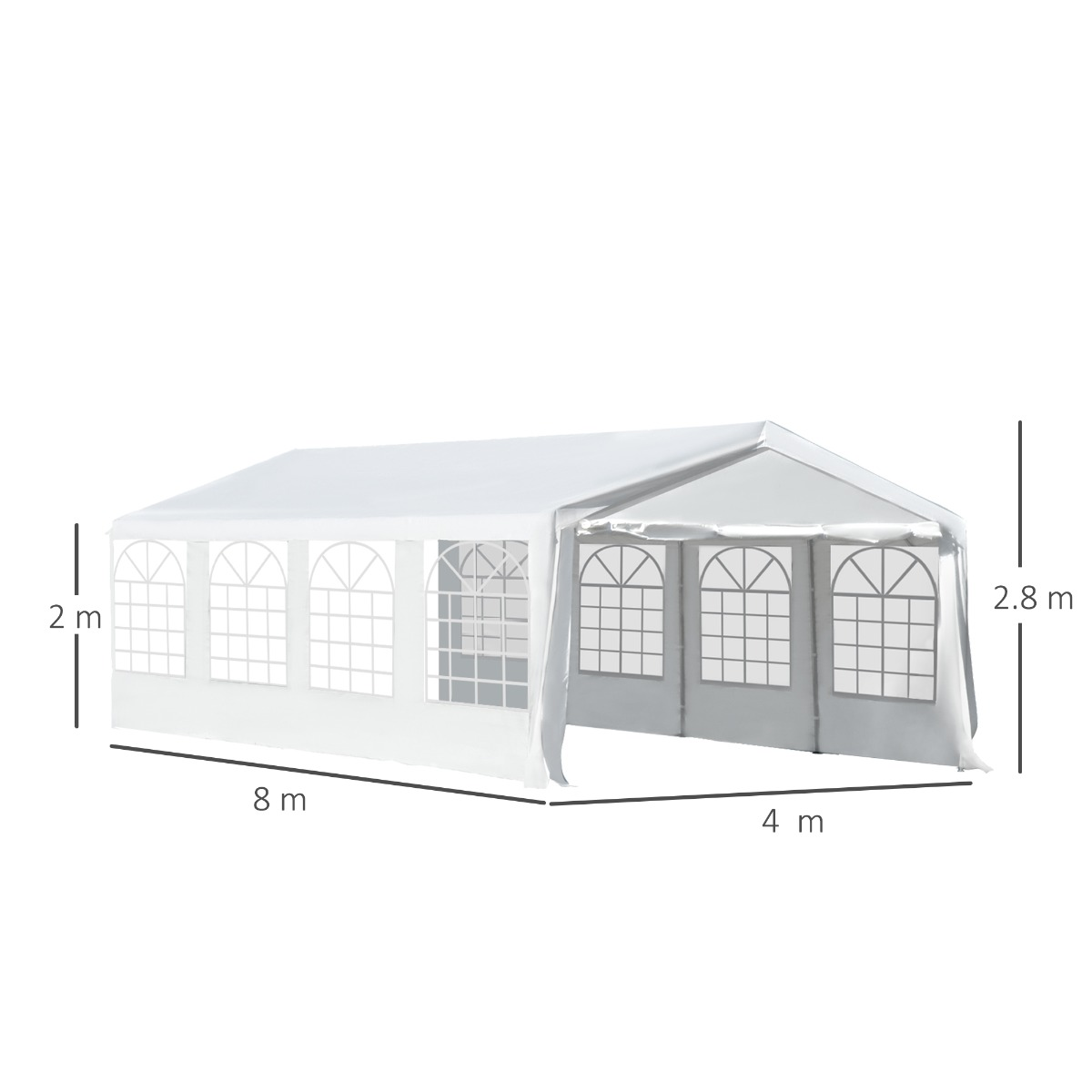 Image of £289.99 Outsunny Gazebo Marquee Water Resistant White / Garden Party Tent Wedding Portable Garage Carport shelter Car Canopy Outdoor Heavy Duty Steel Frame Waterproof Rot (8m x 4m) 01-0803 5060348504610