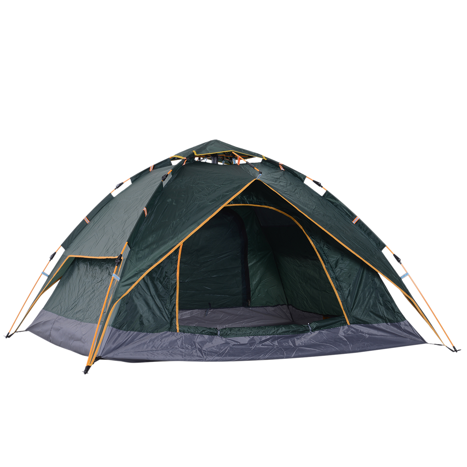 Outsunny Camping Tent, 210Wx210Lx140H cm-Dark Green
