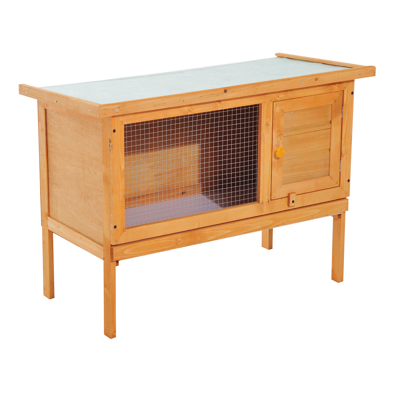 Pawhut Rabbit Hutch,90Lx45Wx65H cm-Fir Wood