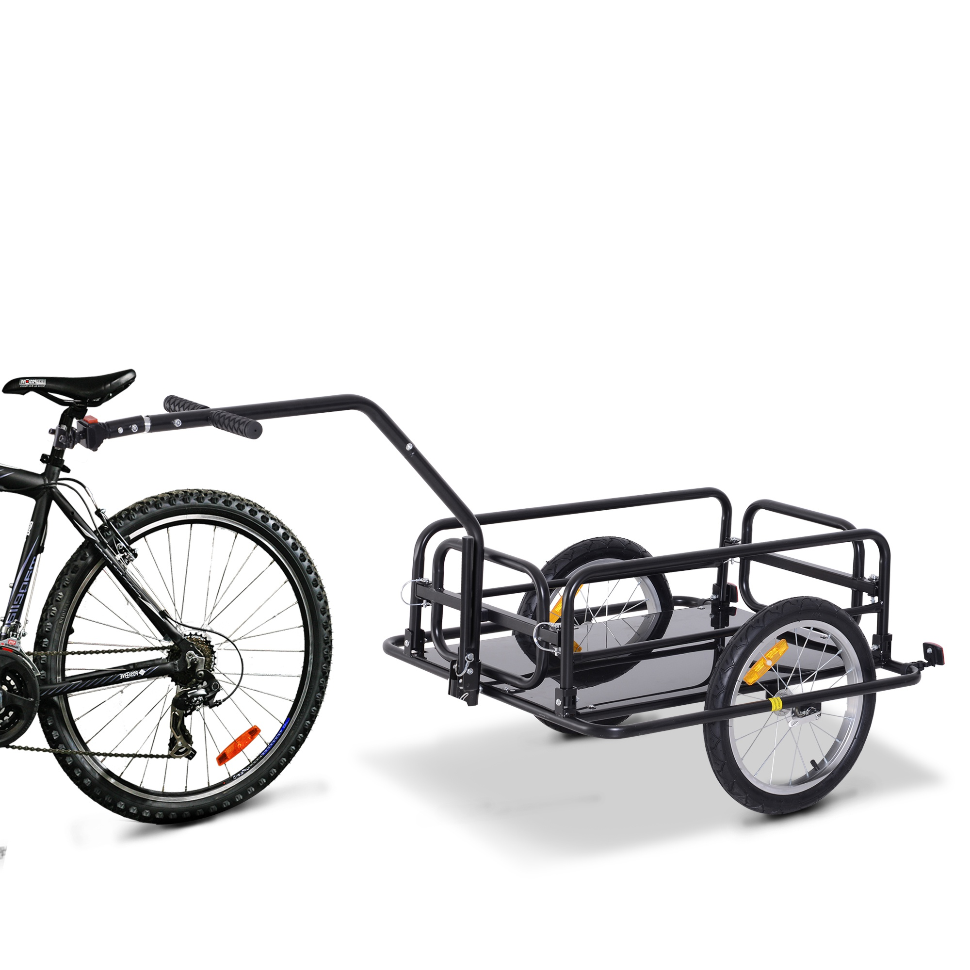 HOMCOM Folding Bicycle Cargo Storage Cart and Luggage Trailer with Hitch Black