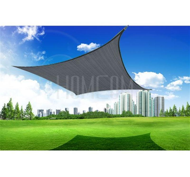 Image of £26.99 Outsunny Square Sun Sail Shade Garden Awning With Free Ropes 3.6m Grey / Screen Outdoor Canopy Party 100110-091GY 5060265998646