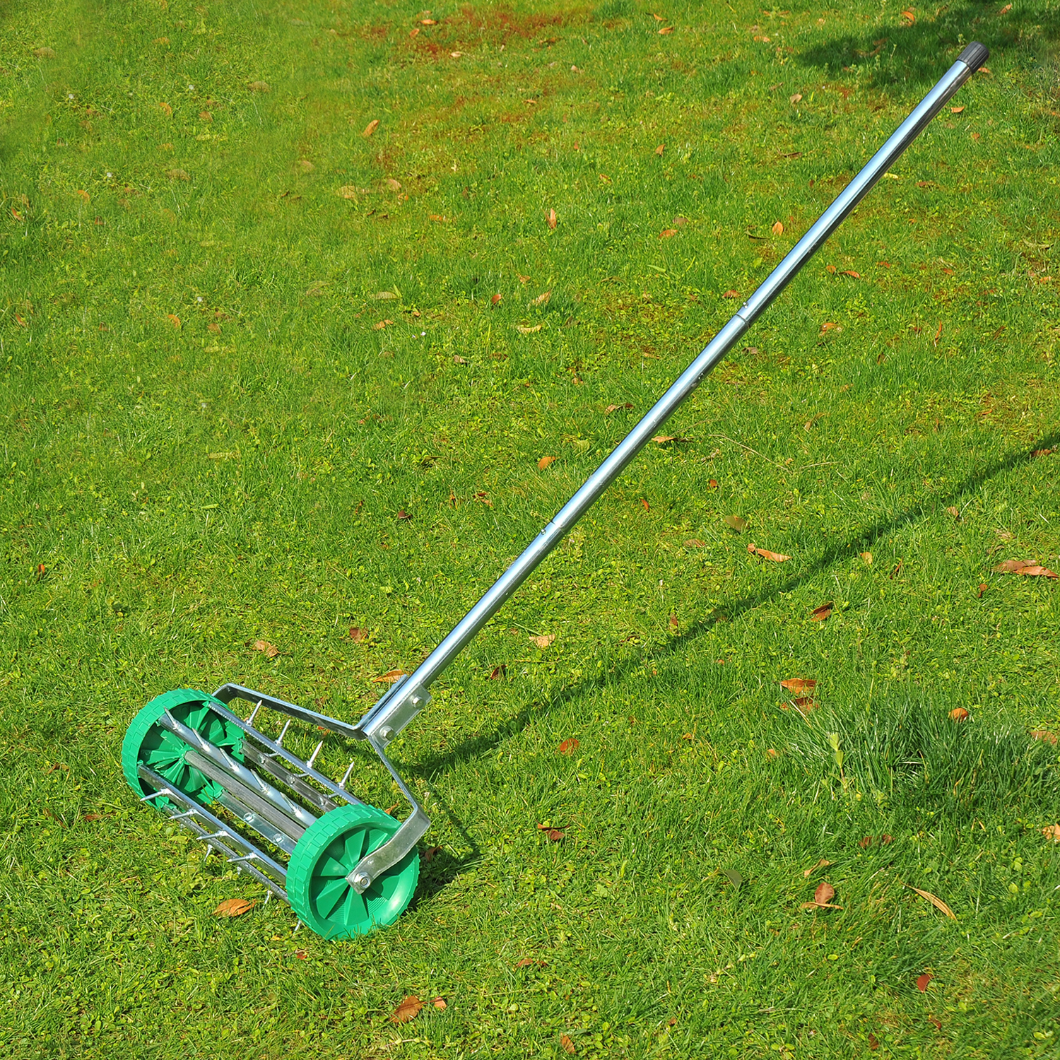 Outsunny Metal 5 Spike Lawn Aerator Roller Green