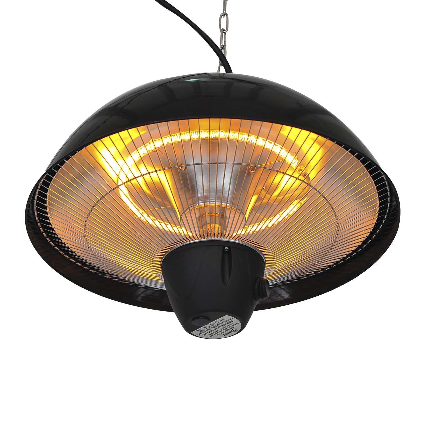 Image of £52.99 Outsunny Ceiling Mounted Electric Patio Heater-Black / 1500 W Outdoor Aluminium Halogen Hanging Heater Light with Remote Control - Black Heat 1.5KW Aluminum Garden 842-033 5055974831896