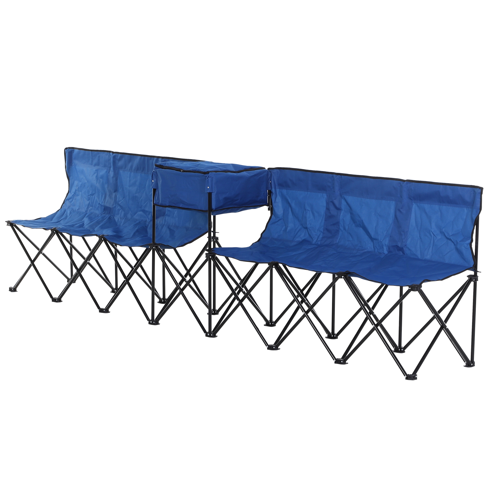 Outsunny 6-Seater Folding Steel Camping Bench w/ Cooler Bag Blue