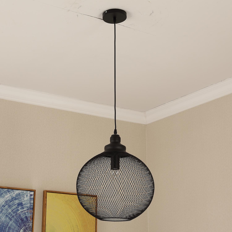 HOMCOM Modern Pendant Lamp Droplight Round Shade Metal Finish Glass Silver Home