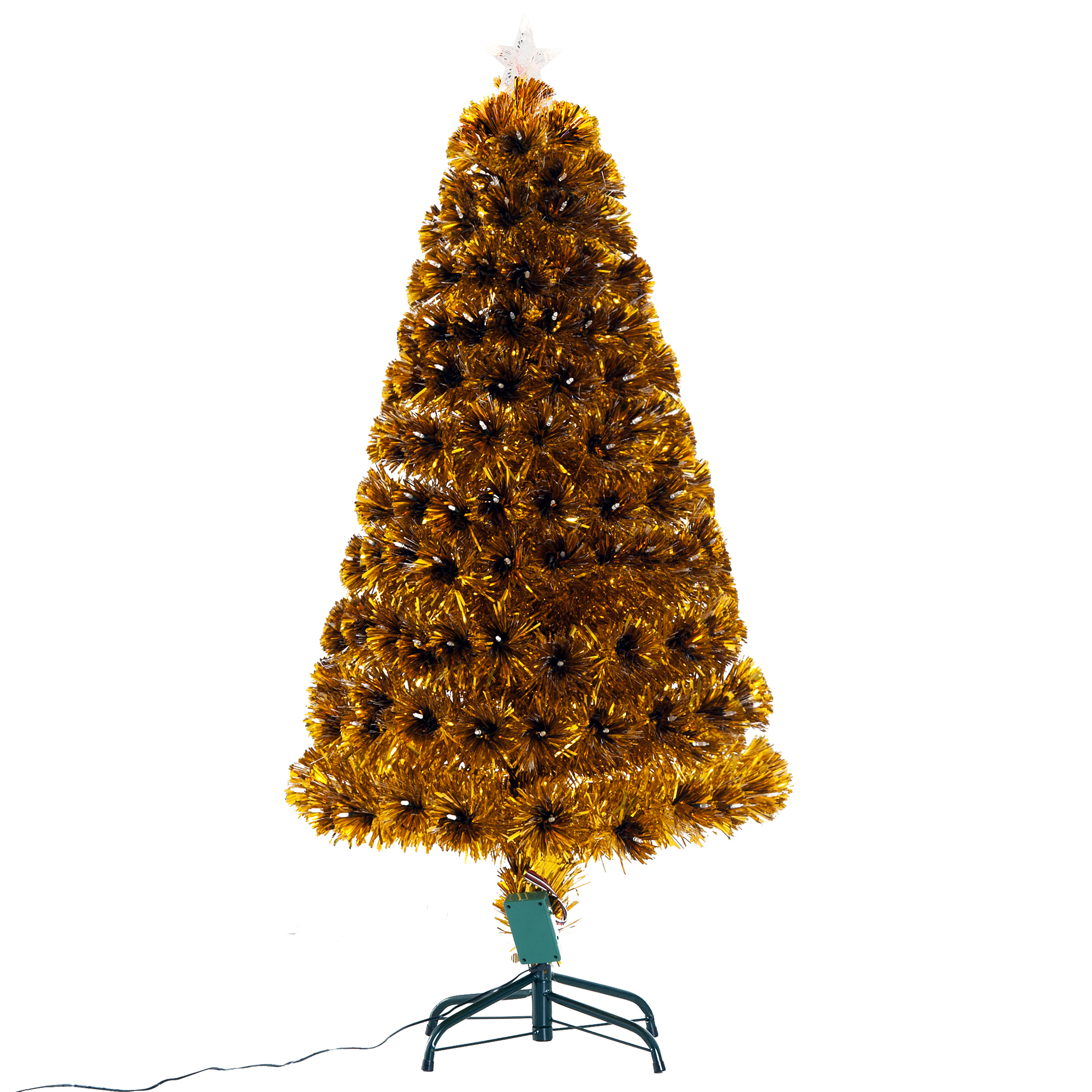 Image of £57.99 HOMCOM Artificial Christmas Tree, 1.2m, Steel Stand / 1.2m 4ft Fibre Optic Tree Xmas Pre-lit LED Holiday Décor with Metal Entrance Light 150 Tips 830-203 5056029807576