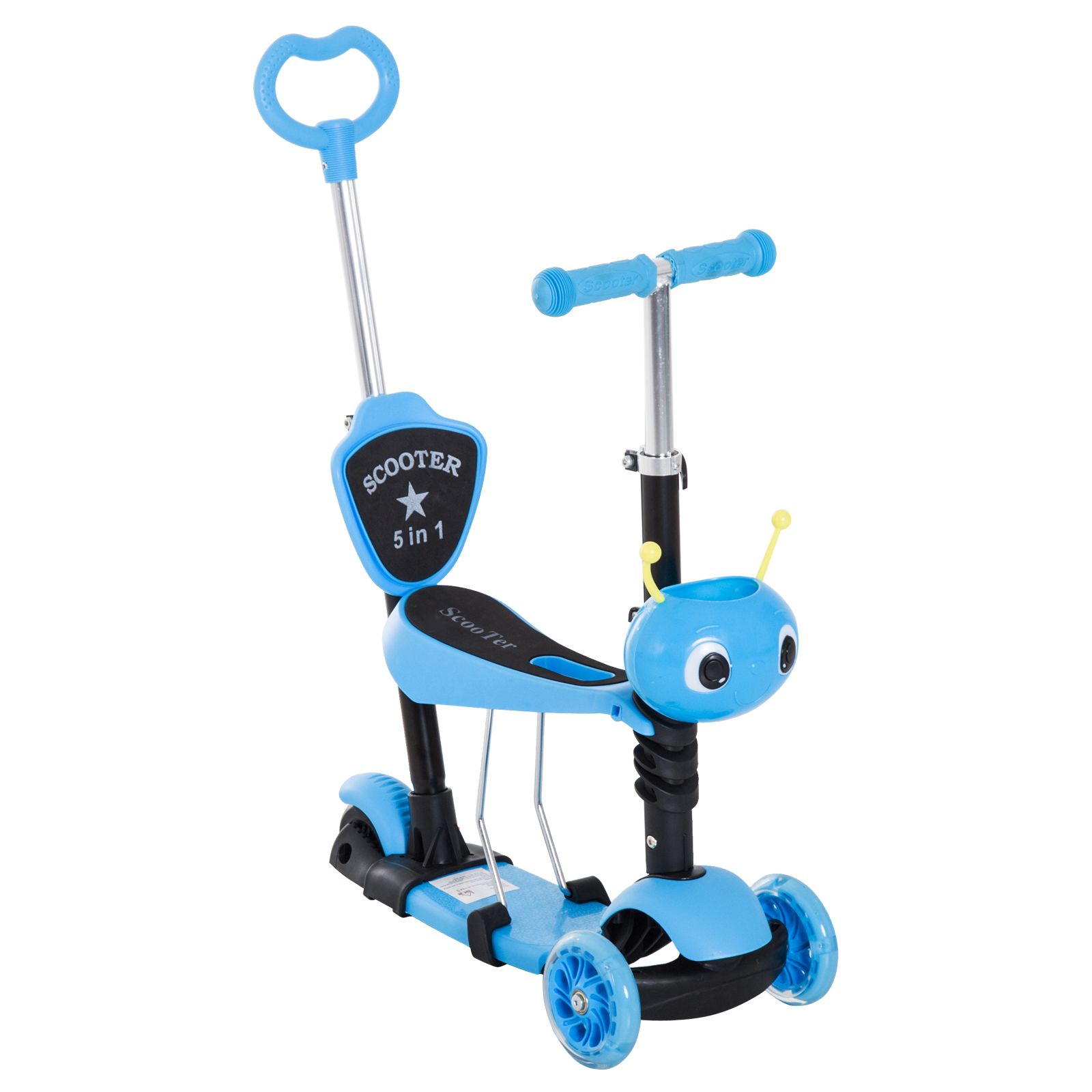 HOMCOM 5-in-1 Kids Kick Scooter W/Removable Seat-Blue