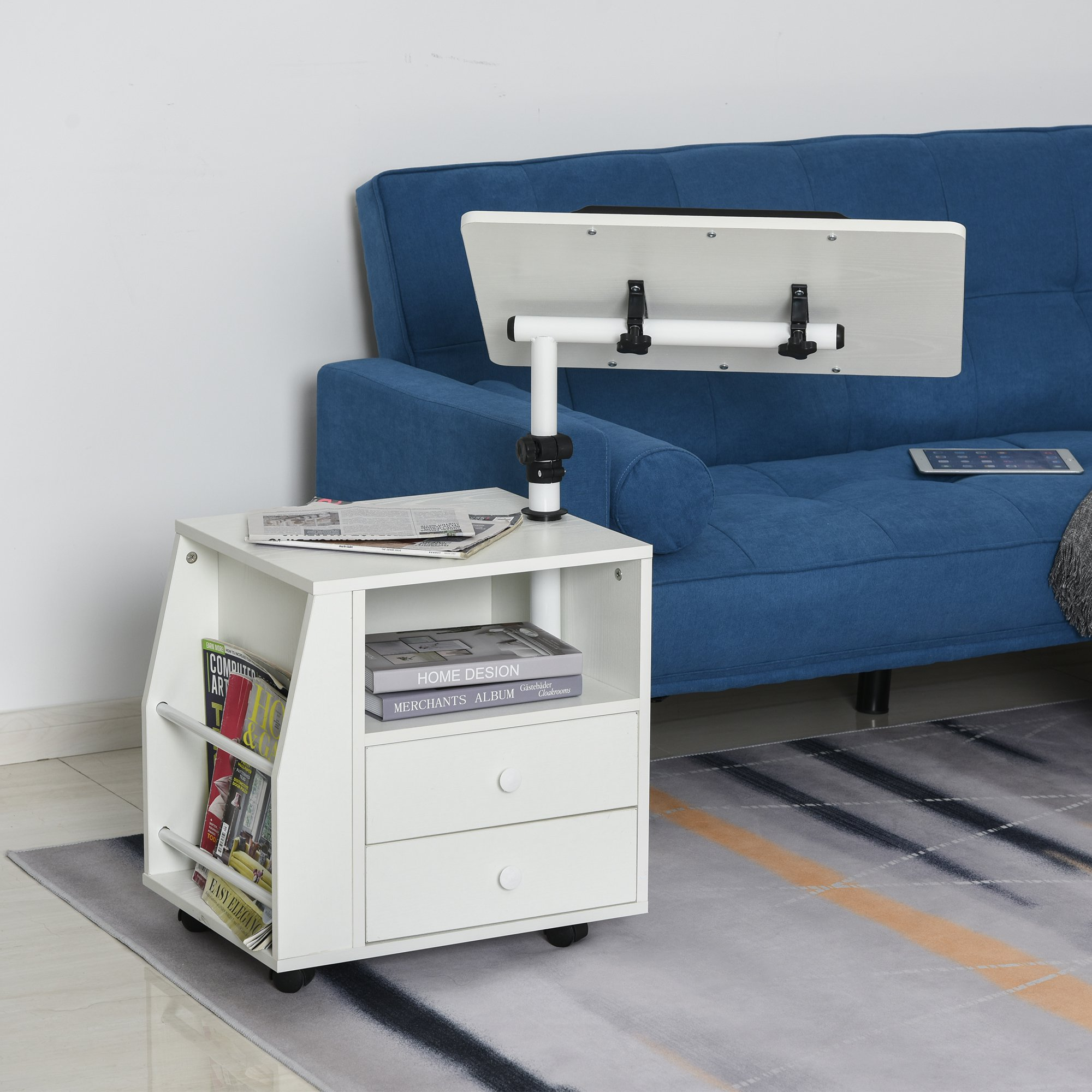 HOMCOM Particle Board 360 Rotation End Table w/ Storage Cabinet White