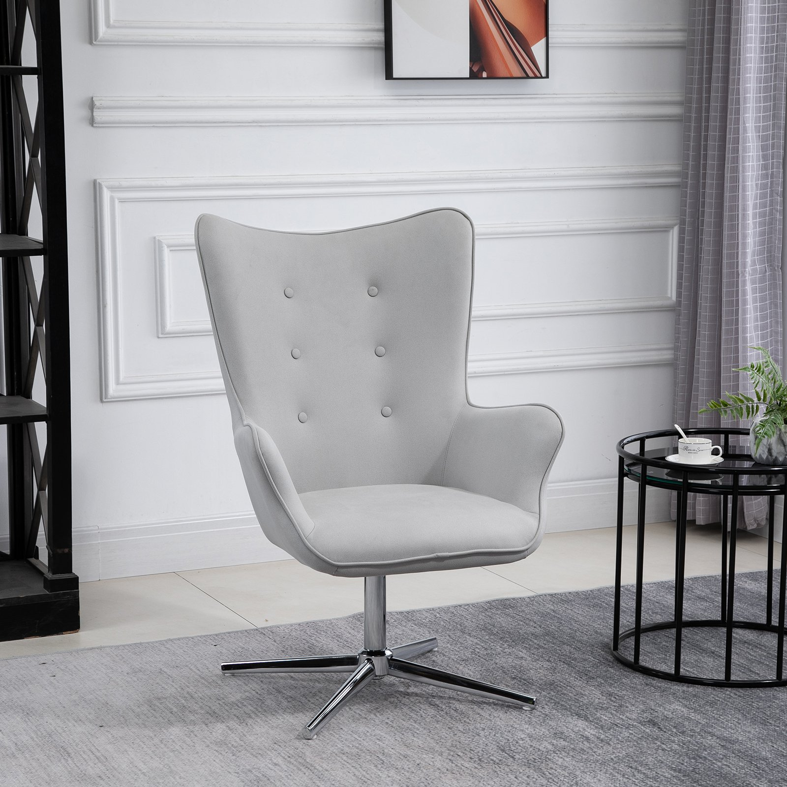 HOMCOM PU Leather Tufted Swivel Accent Chair Grey