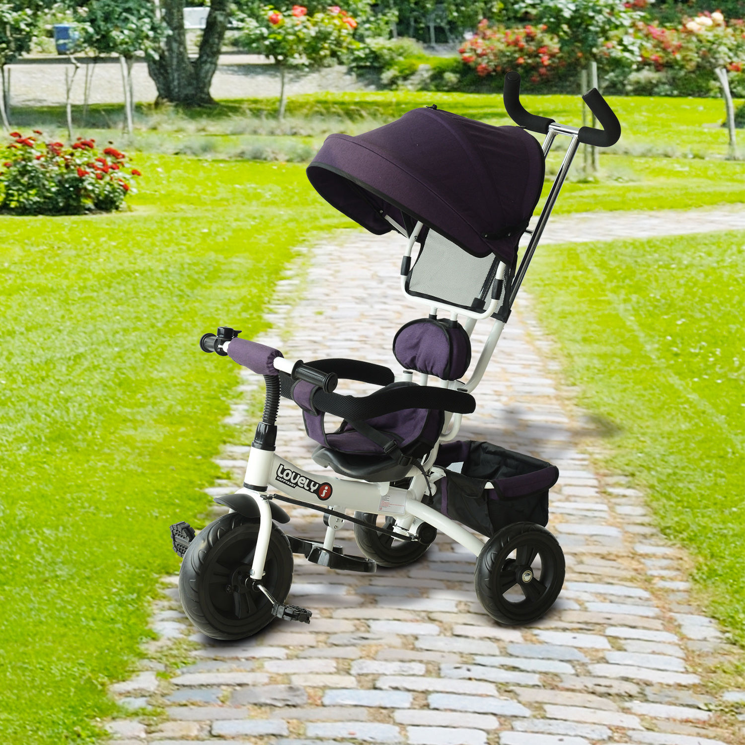 HOMCOM Kids Polyester Sun Canopy Ride-On Tricycle w/ Parent Handle Purple