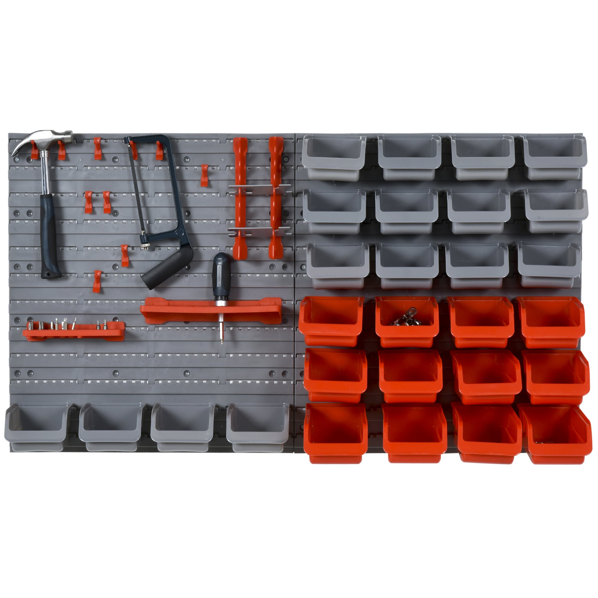DURHAND PP Wall Mounted Tools & Hardware Storage Unit w/ Containers