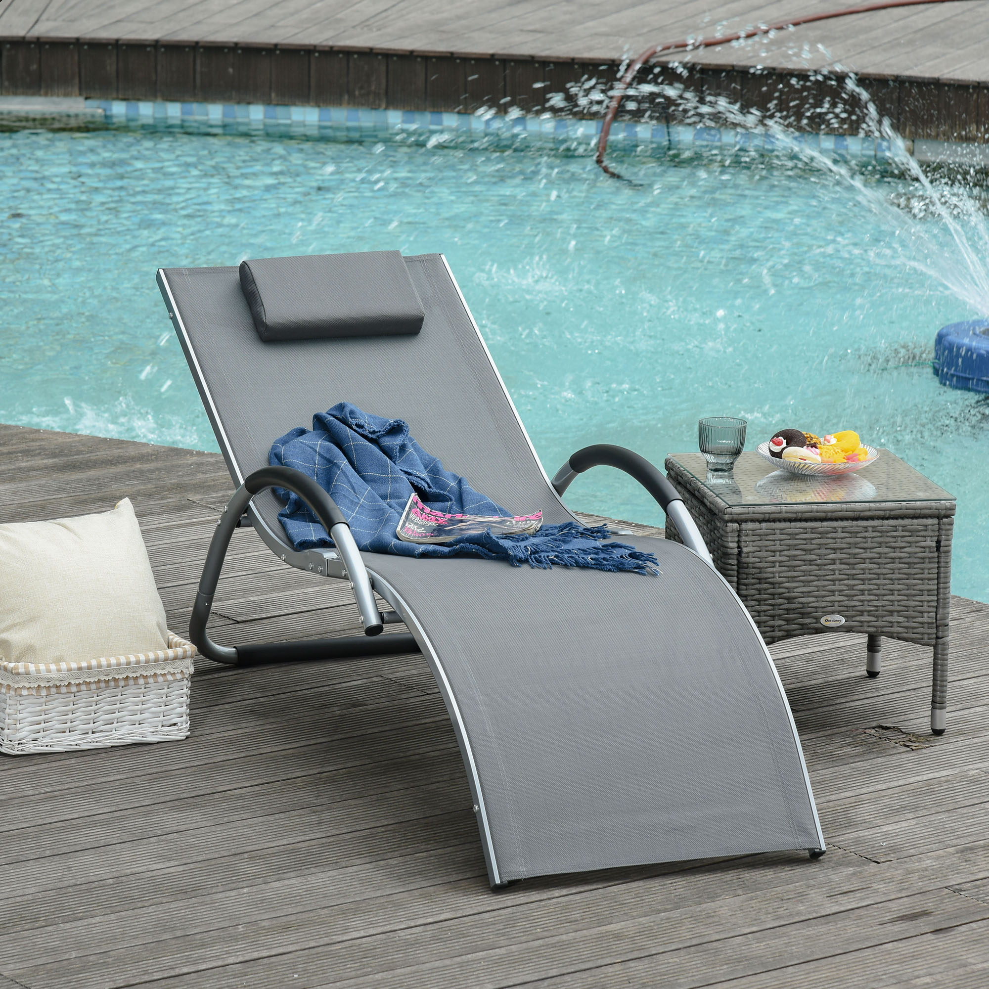 Outsunny Lounger Chair Portable Armchair with Removable Pillow for Yard Beach Texteline