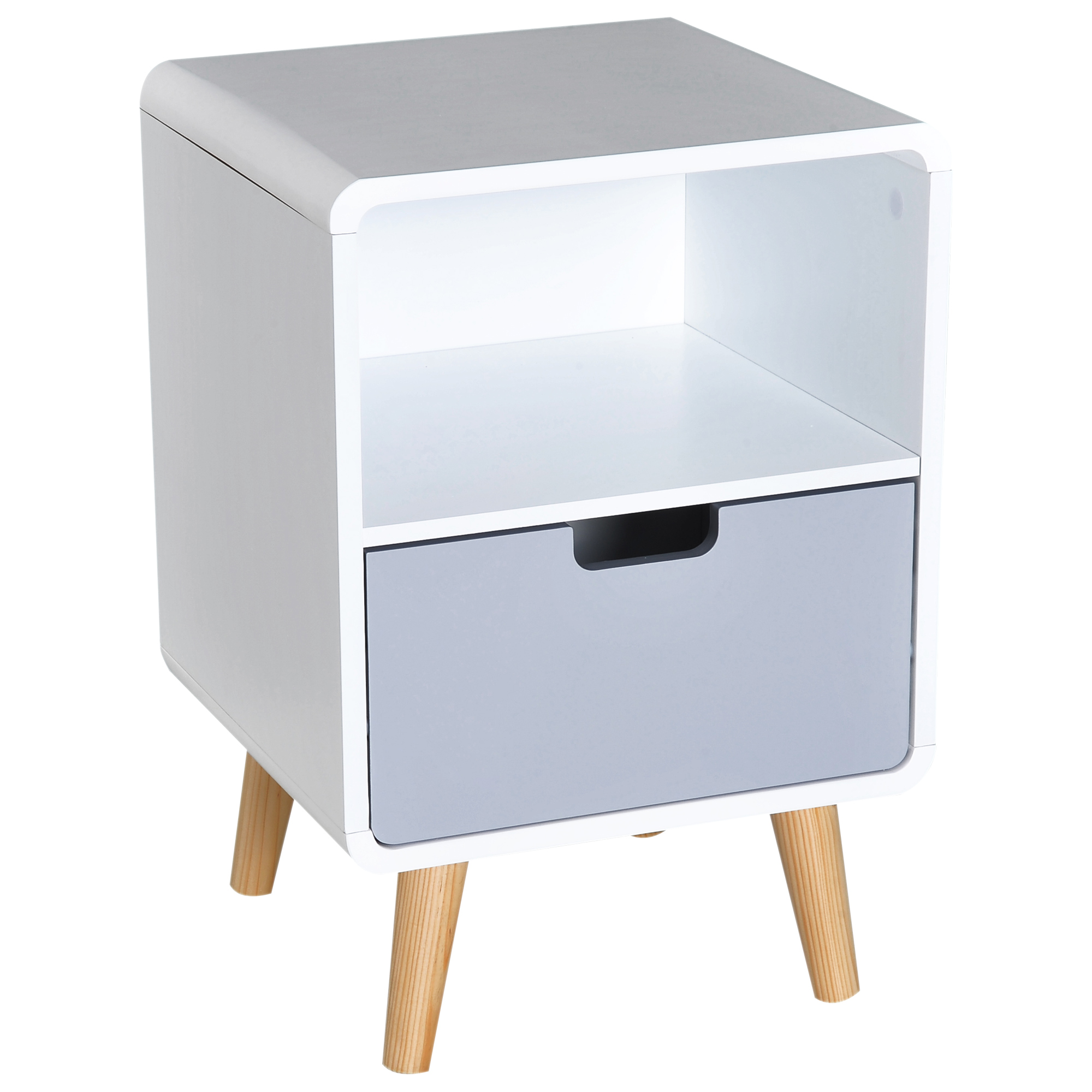 HOMCOM Scandinavian Style Bedside Table, 40Lx38Wx58H cm-White/Grey/Natural Wood Colour