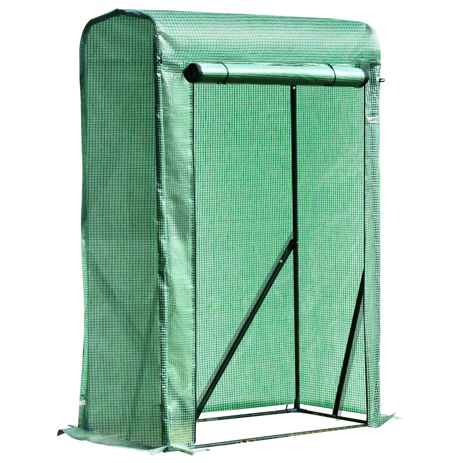 Outsunny 100x50x150cm PVC Grid Cover Steel Frame Greenhouse Green