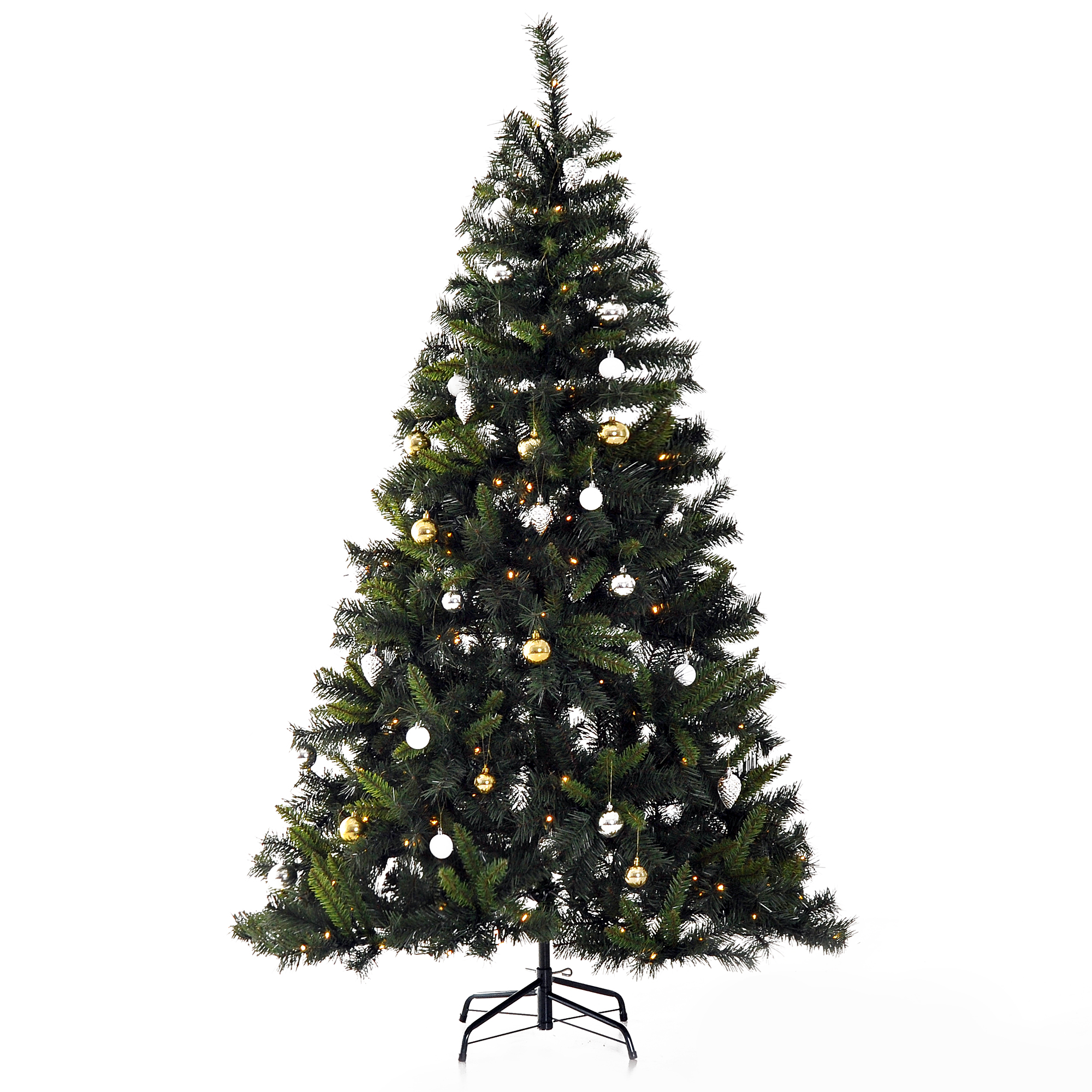 Image of £48.99 HOMCOM Artificial Tree W/ Ornament, 1.8m / 6ft Pre-Lit Christmas 200 LED Xmas Holiday Décor with Decorative Balls Ornament Metal Stand 830-186 5056029806814