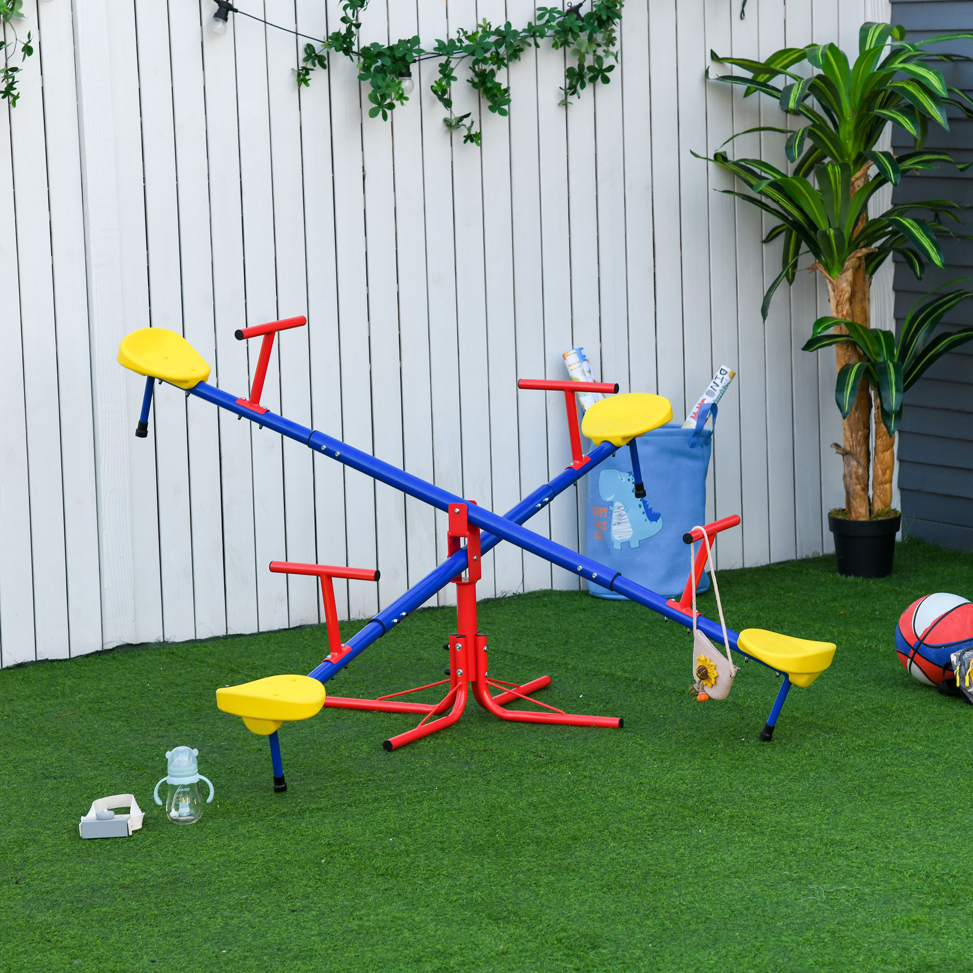 Outsunny Kids Metal Seesaw Teeter Totter Children's Playground Equipment 4 Seats