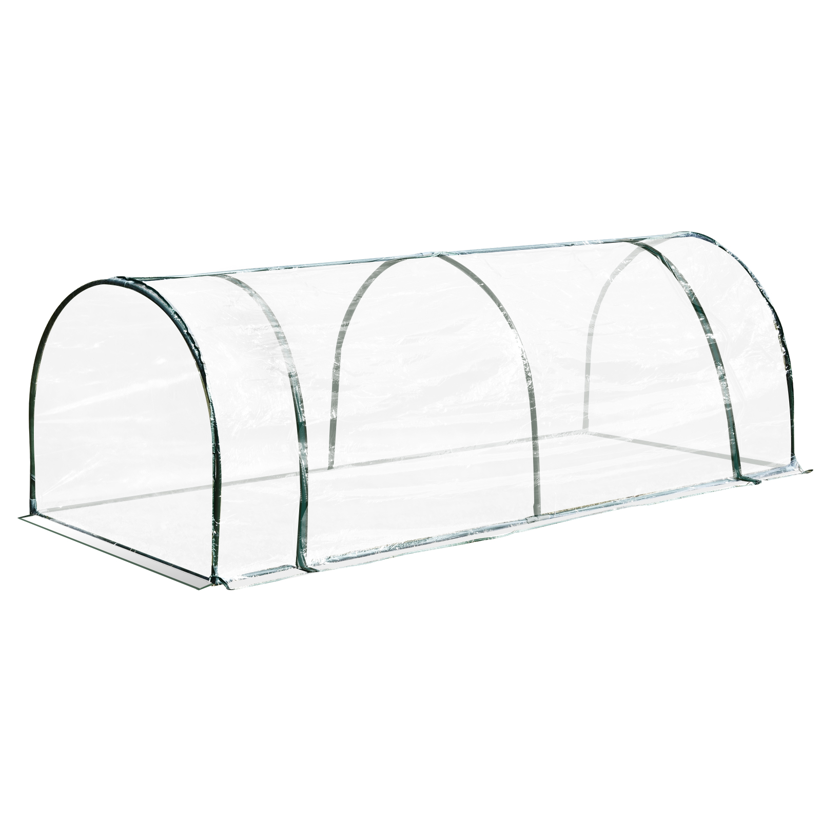 Outsunny PVC Greenhouse Tunnel Steel Frame Transparent 250x100x80cm