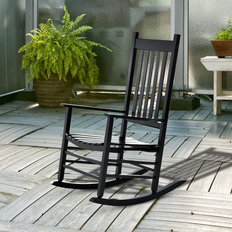 Outsunny Porch Rocking Chair, Poplar Wood, 69Wx86Dx115H cm-Black