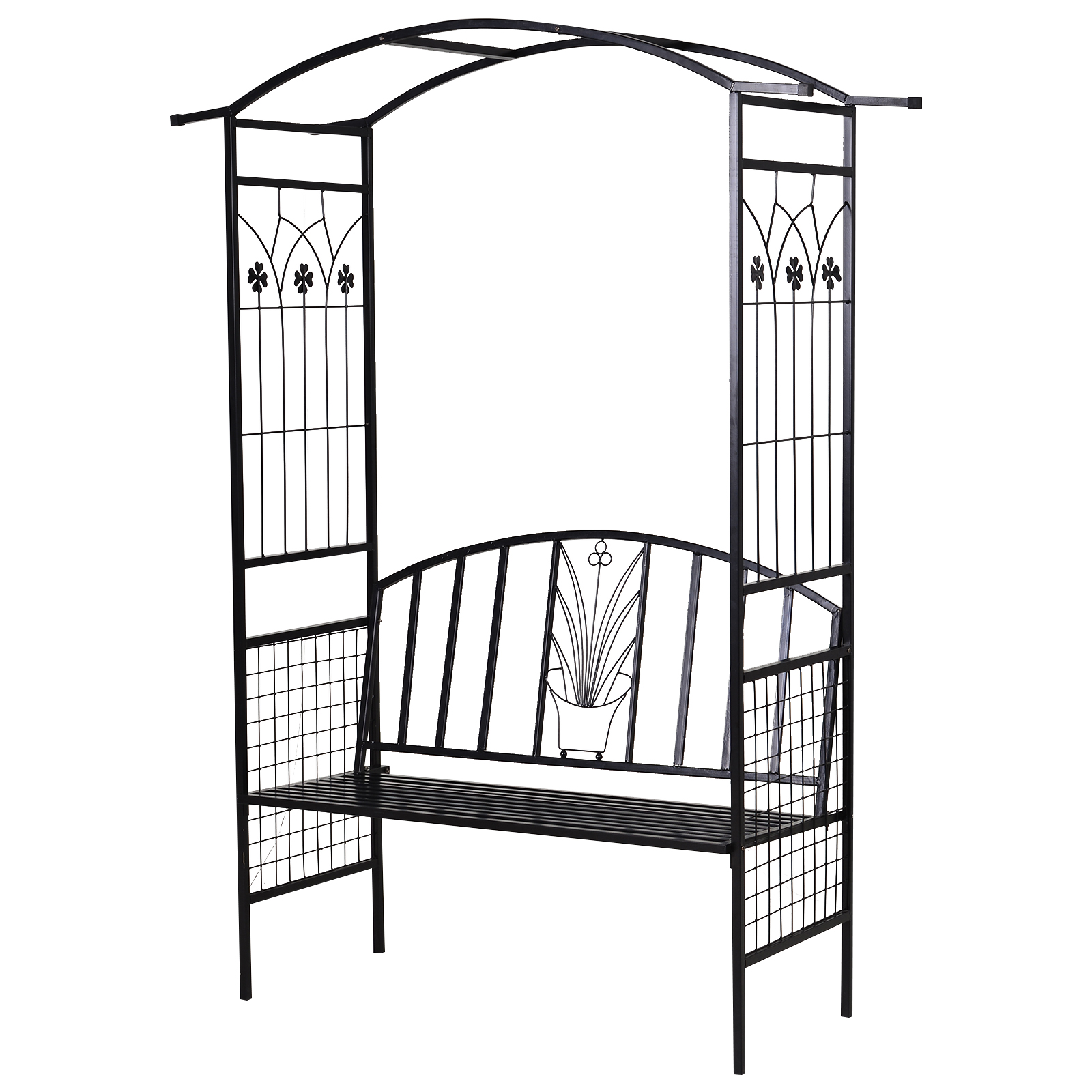 Outsunny Steel Frame Outdoor Garden Arch w/ 2-Seater Bench Flower Climber Black