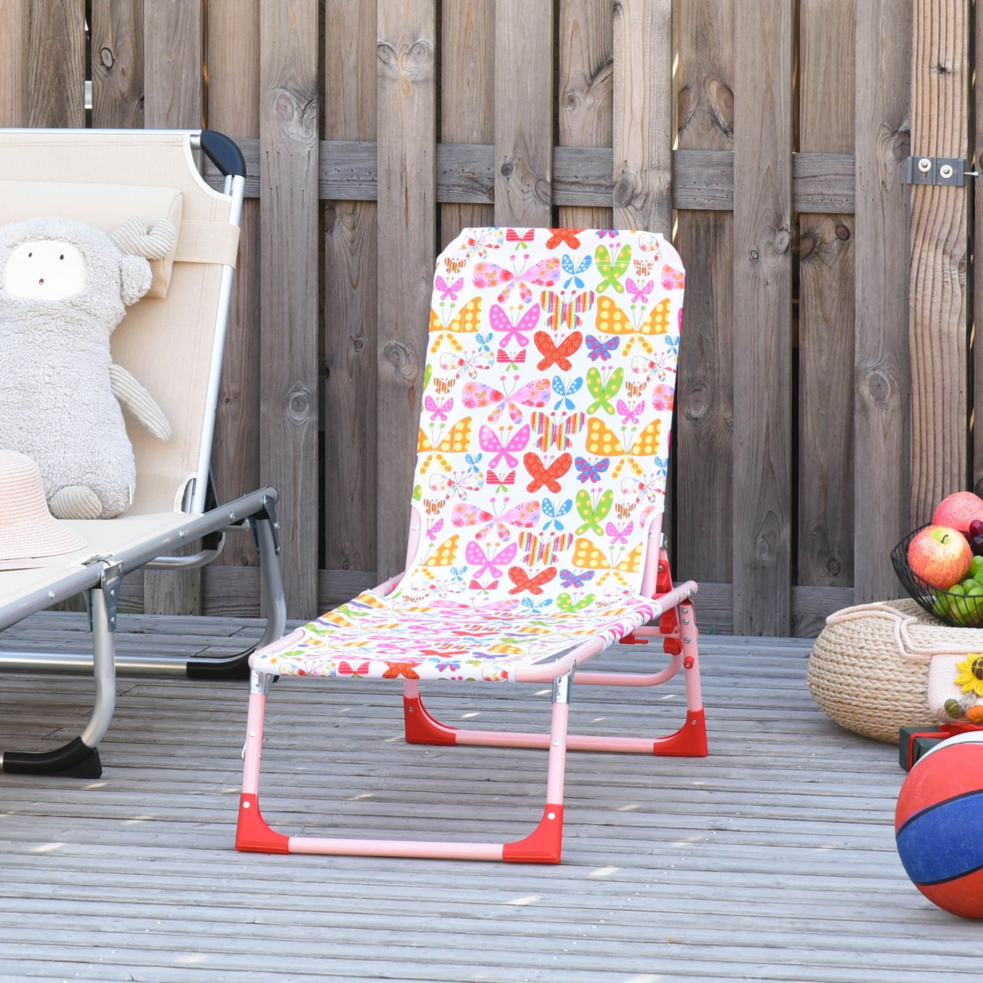 Outsunny Lounge Chair for Kids Recliner Foldable Lightweight with Adjustable Backrest