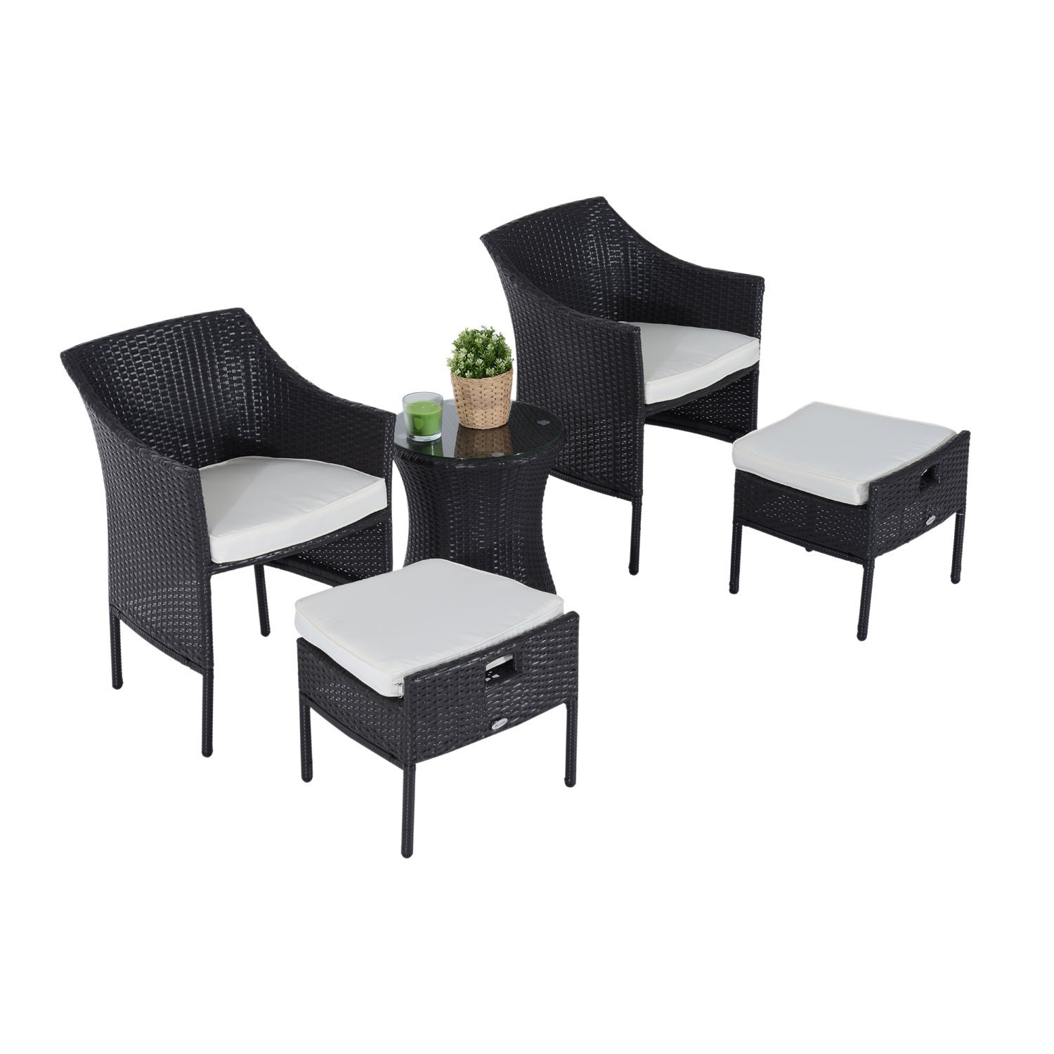 Image of £156.99 Outsunny 5 Pieces Rattan Coffee Set, Steel-Dark Brown / 5PC Bistro Set Wicker Armchair Footstool Glass Top Table Combo Garden Patio Furniture w/Cushion - Footrest Side 863-026 5056029887608