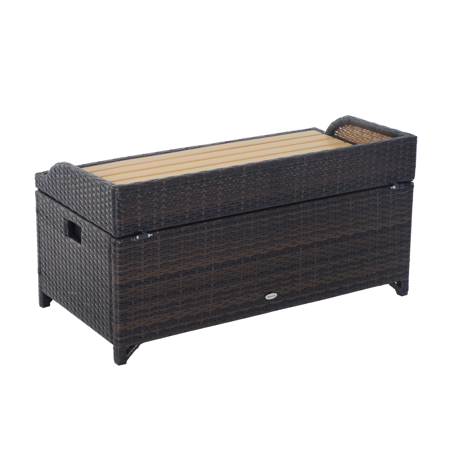 Marvelous Outsunny Rattan Storage Bench 102Lx51Wx51H Cm Mixed Brown Onthecornerstone Fun Painted Chair Ideas Images Onthecornerstoneorg