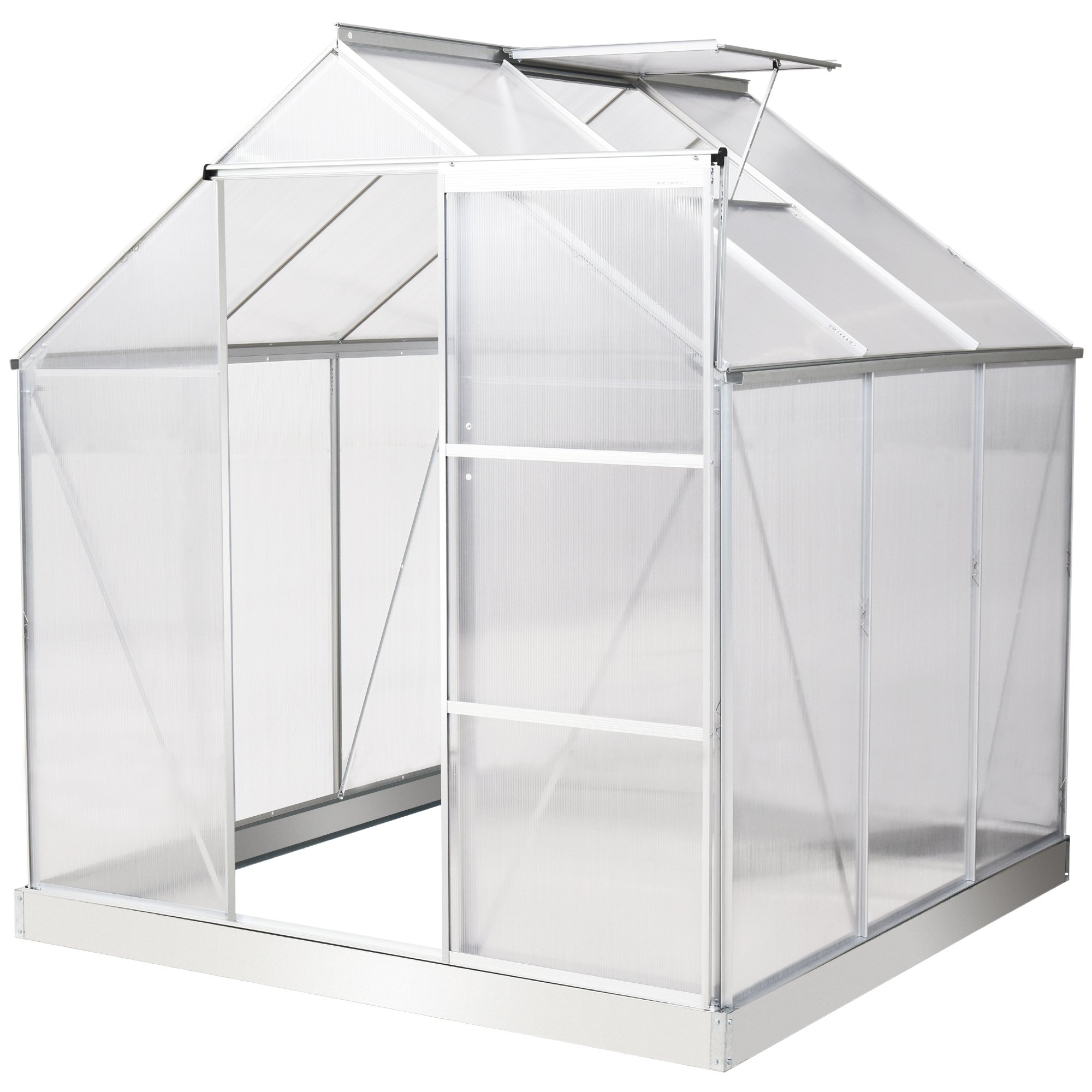 Outsunny 6x6ft Walk-In Polycarbonate Greenhouse w/ Window Clear