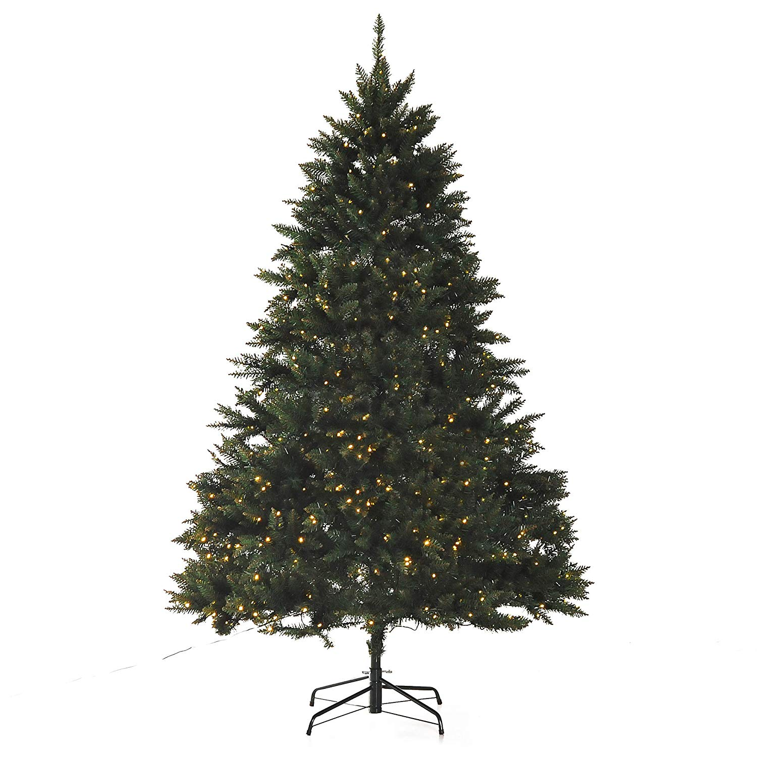Image of £89.99 HOMCOM Artificial Christmas Spruce Tree, 2.1m-Green / 2.1m 7ft Pre-Lit Tree Xmas 700 Warm White LED Holiday Décor Metal Stand Clear W/ 830-192 5056029806890