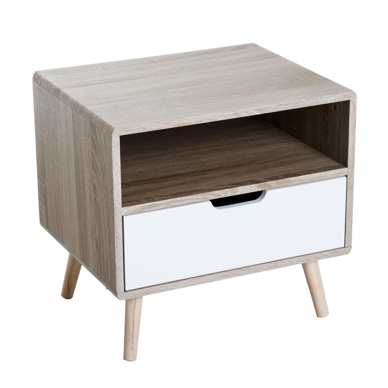 HOMCOM End Side Table, 50Wx40Dx50H cm-Natural Wood Colour
