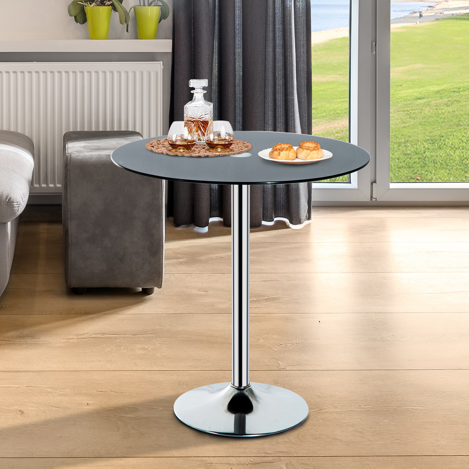 Details about round bar table pub glass top modern home dining kitchen furniture cafe chrome