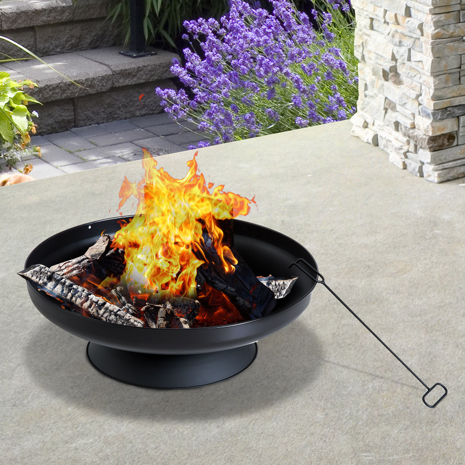 Image of £17.99 Outsunny Bowl φ 59.5 cm Firepit, Steel-Black / 60CM Round Metal Firepit Wood Charcoal Burner Backyard Stove Patio Garden Heater - Black Outdoor Steel φ59.5cm 842-089 5056029888056