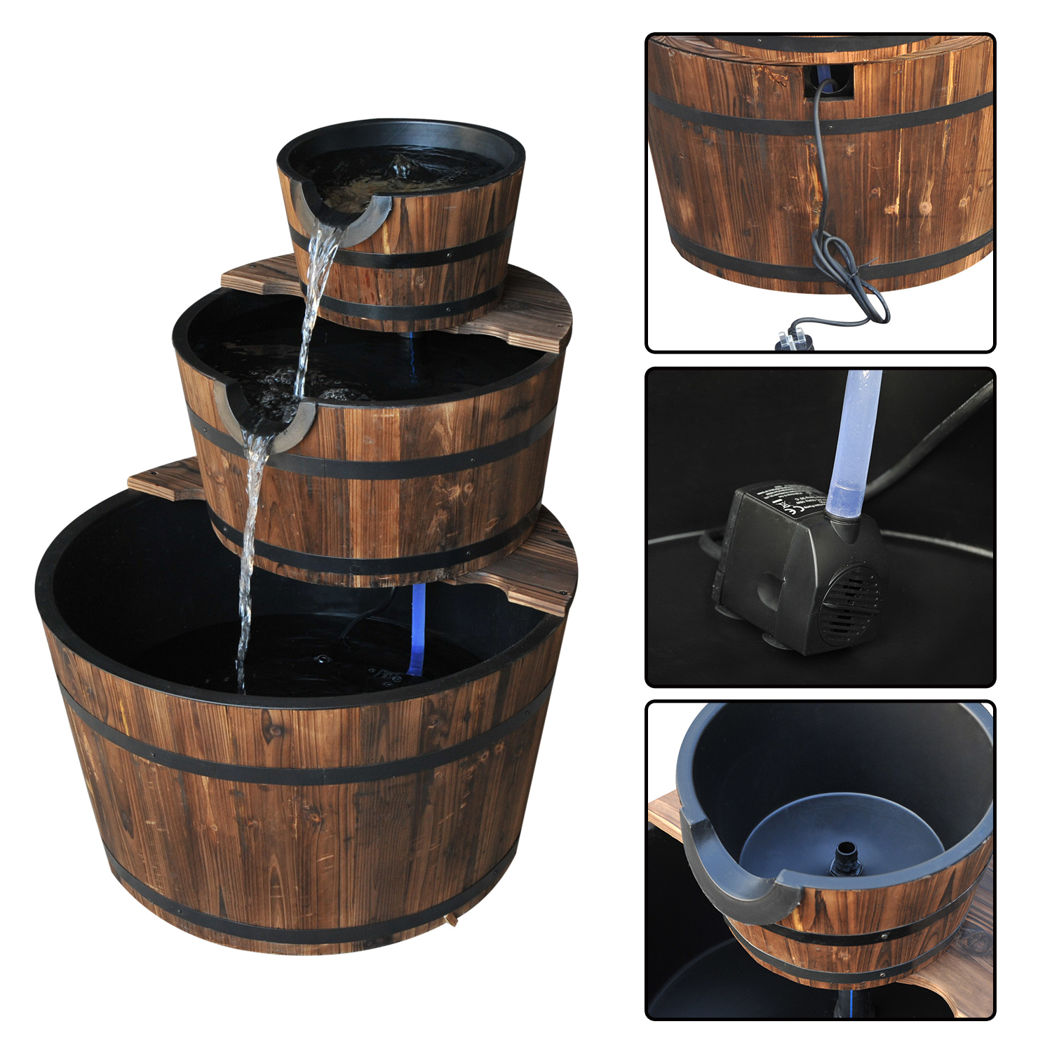 Image of £84.99 Outsunny Wooden Water Pump Fountain, 3 Tier-Fir Wood/Steel / Fountain Cascading Feature Barrel Garden Deck (3 Tier) 844-098 5056029889459