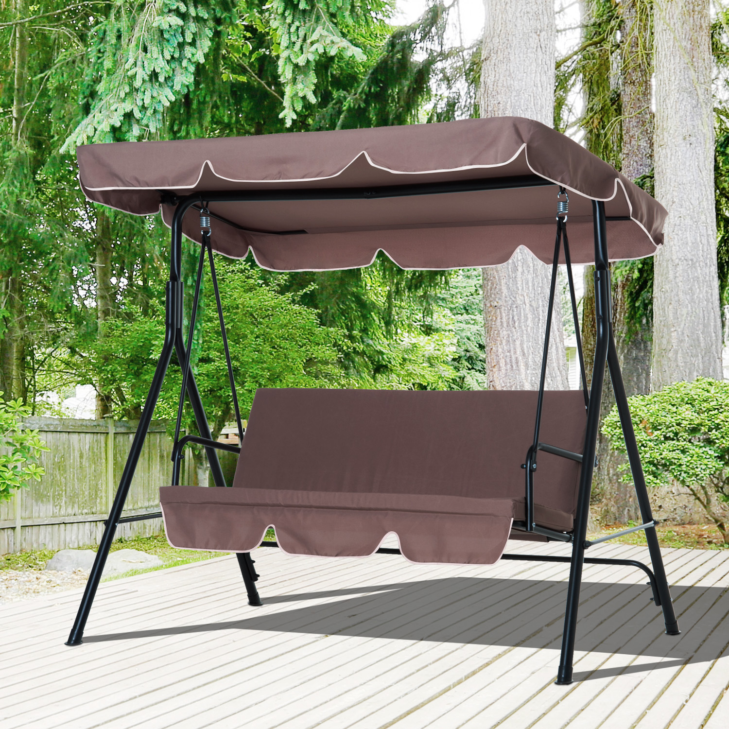 Image of £72.99 Outsunny Swing Chair 3-Seater Cushioned Bench-Brown / Garden Patio 3 Seater Swinging Hammock Canopy Outdoor Bench Bed Seat (Brown) Metal Lounger New 84A-001BN 5055974822610