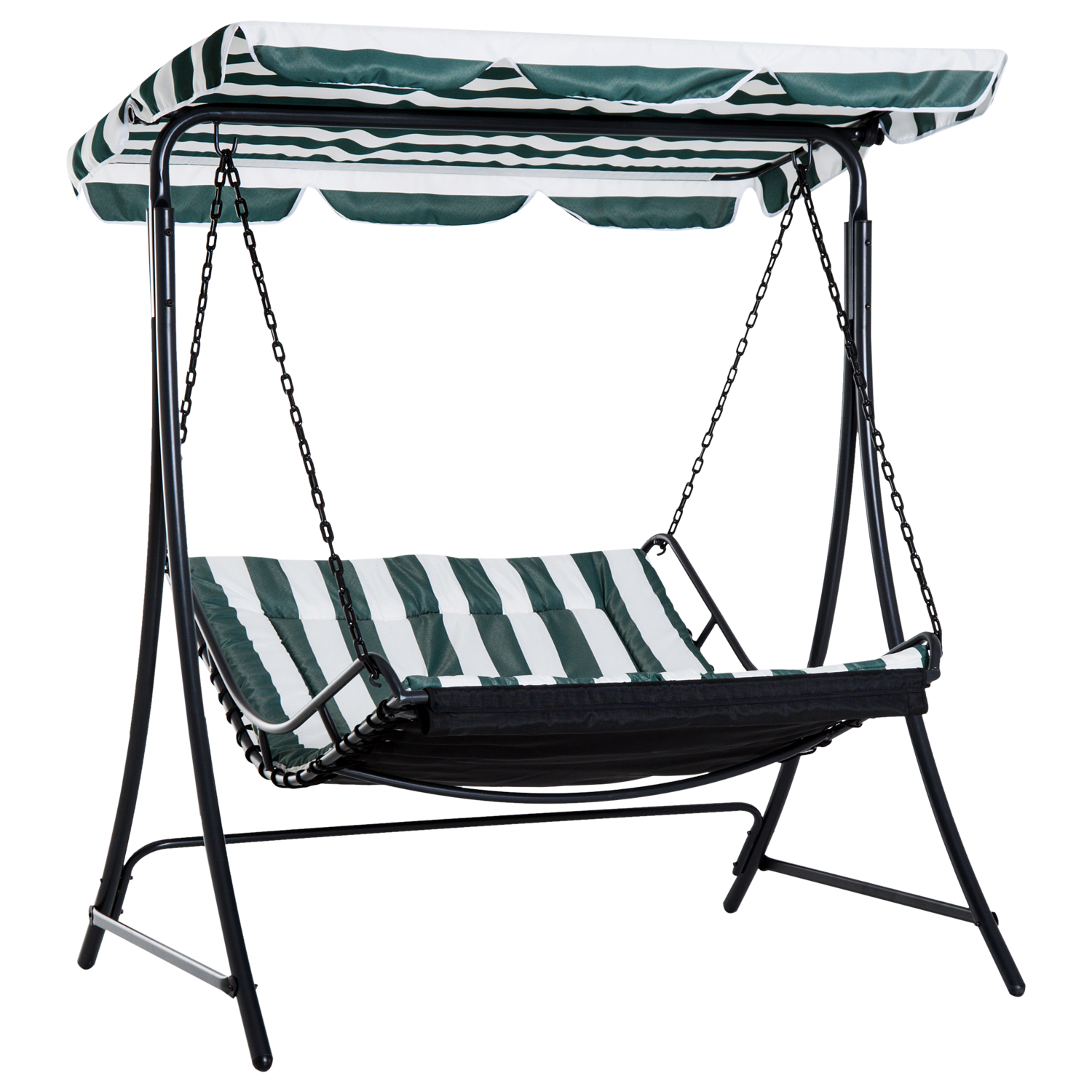 Image of £99.99 Outsunny Swing Chair Hammock Seat-Green/White / Bed Canopy 2 Person Double Garden Bench Rocking Sun Lounger Outdoor Backyard Furniture with Cushion - Green & White Seat Adjustable Steel 84A-072 5056029891544