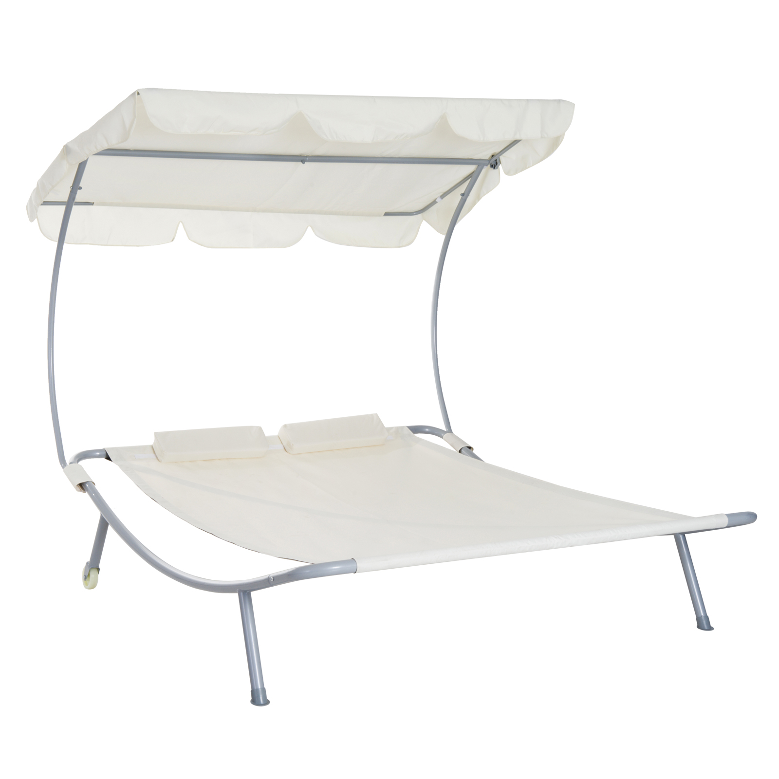 Image of £77.99 Outsunny Double Hammock Bed W/Pillows-Cream White / Sun Lounger Canopy Shelter Wheels 2 Pillows Patio Cream 84B-174CW 5056029888353