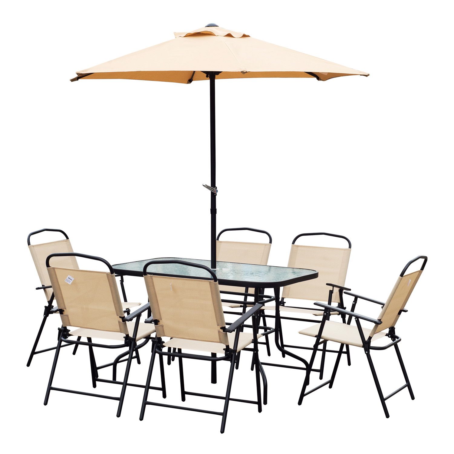 Image of £159.99 Outsunny 8 Pcs Dining Set W/Umbrella, Textilene-Beige / PC Garden 6 Seater Outdoor Patio Furniture with Glass Top Coffee Table Textilene Folding Chairs and 2M Sun Parasol Pieces Foldable Chair Umbrella Beige 84B-191 5056029886854