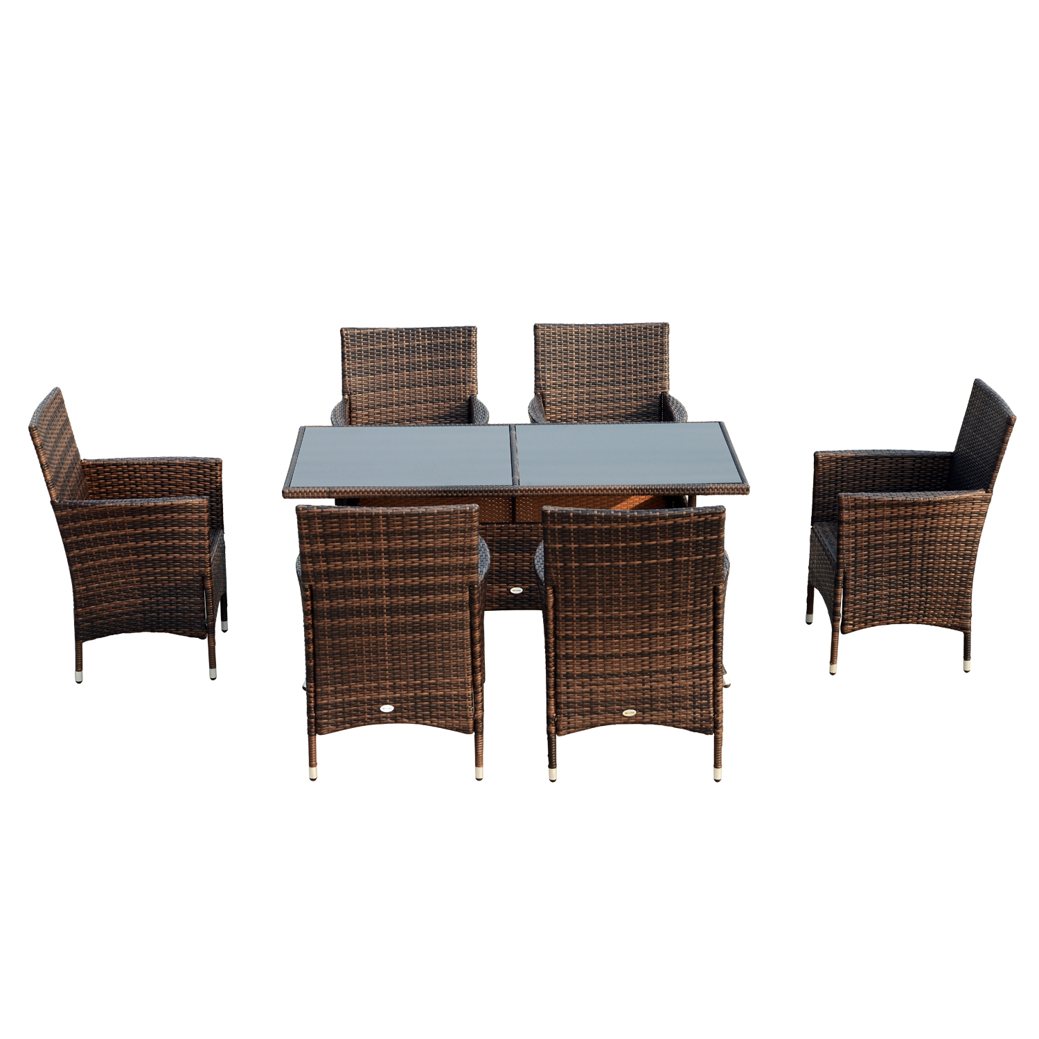 Image of £329.99 Outsunny 7 Pieces Rattan Dining Set, Galvanized Steel-Brown / PC Wicker Furniture Garden Outdoor 6 Seater Set Rectangular Glass Topped Table Armrest Chair - Brown Patio Chairs 861-023BN 5056029887578