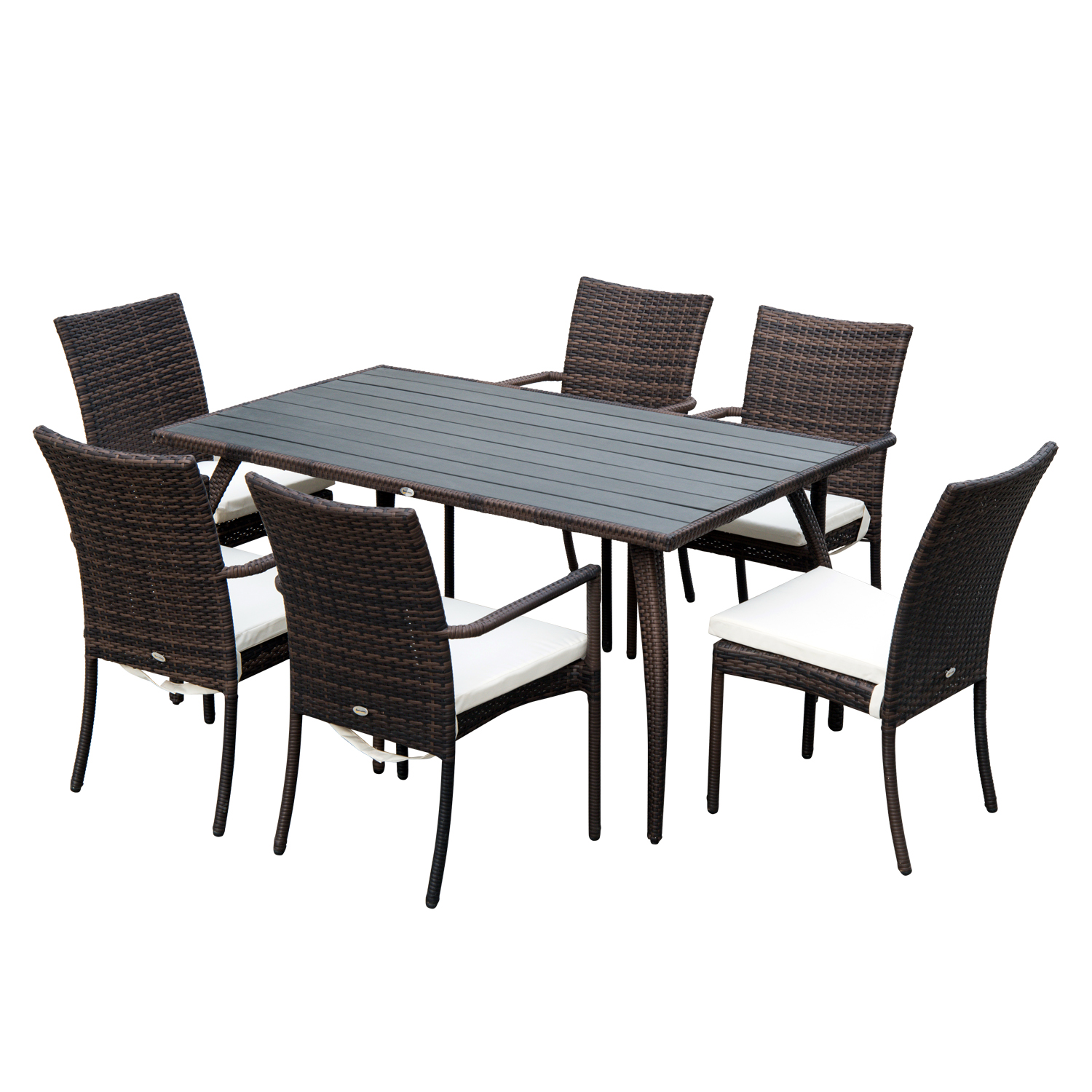 Image of £259.99 Outsunny 7 PC Rattan Dining Set-Brown/Cream White / Outsuny 7PC Set | 6 Wicker Weave Chairs & Plastic Wood Top Table Seater Outdoor Backyard Garden Furniture - Brown Pieces Chair Cushion 861-025 5056029886571
