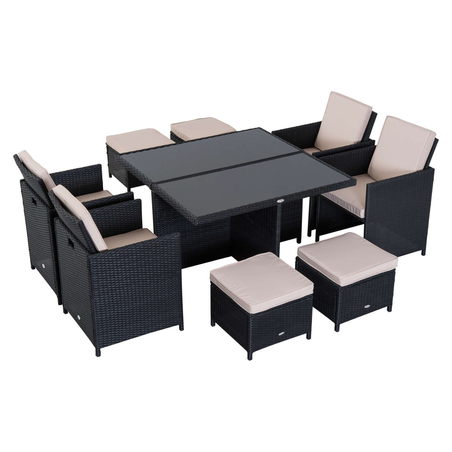 Image of £399.99 Outsunny 9 Pcs Rattan Dining Set-Black / 9PC Wicker Garden Furniture Set Outdoor Easy Storage Table Chairs with Foot Stool Thick Cushion - Black Pieces Seat Footrest 861-028BK 5056029889336