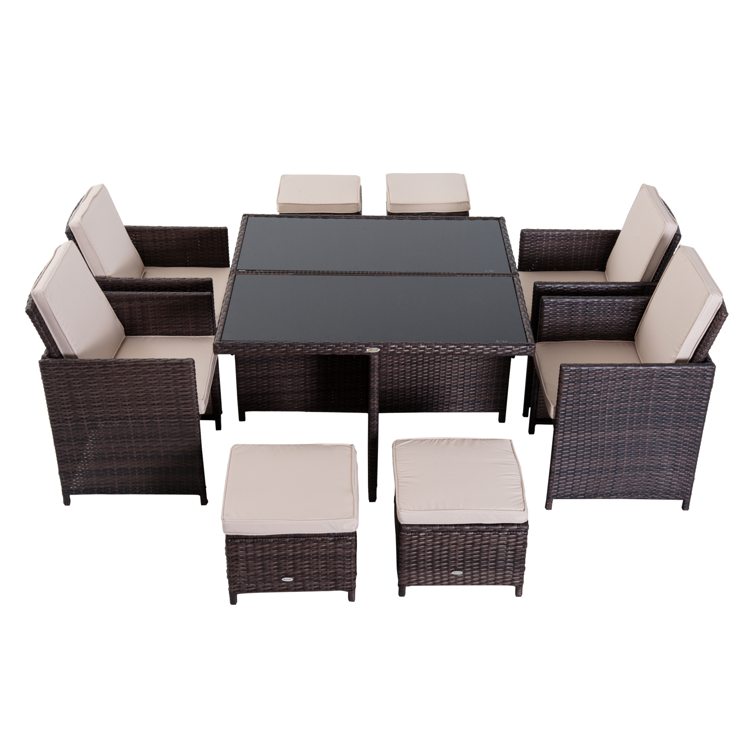 Image of £399.99 Outsunny 9 PCS Rattan Dining Set-Brown / 9PC Wicker Furniture Outdoor Set Easy Storage Garden Table Chairs with Foot Stool Thick Cushion - Brown Pieces Seat Woven 861-028BN 5056029889633
