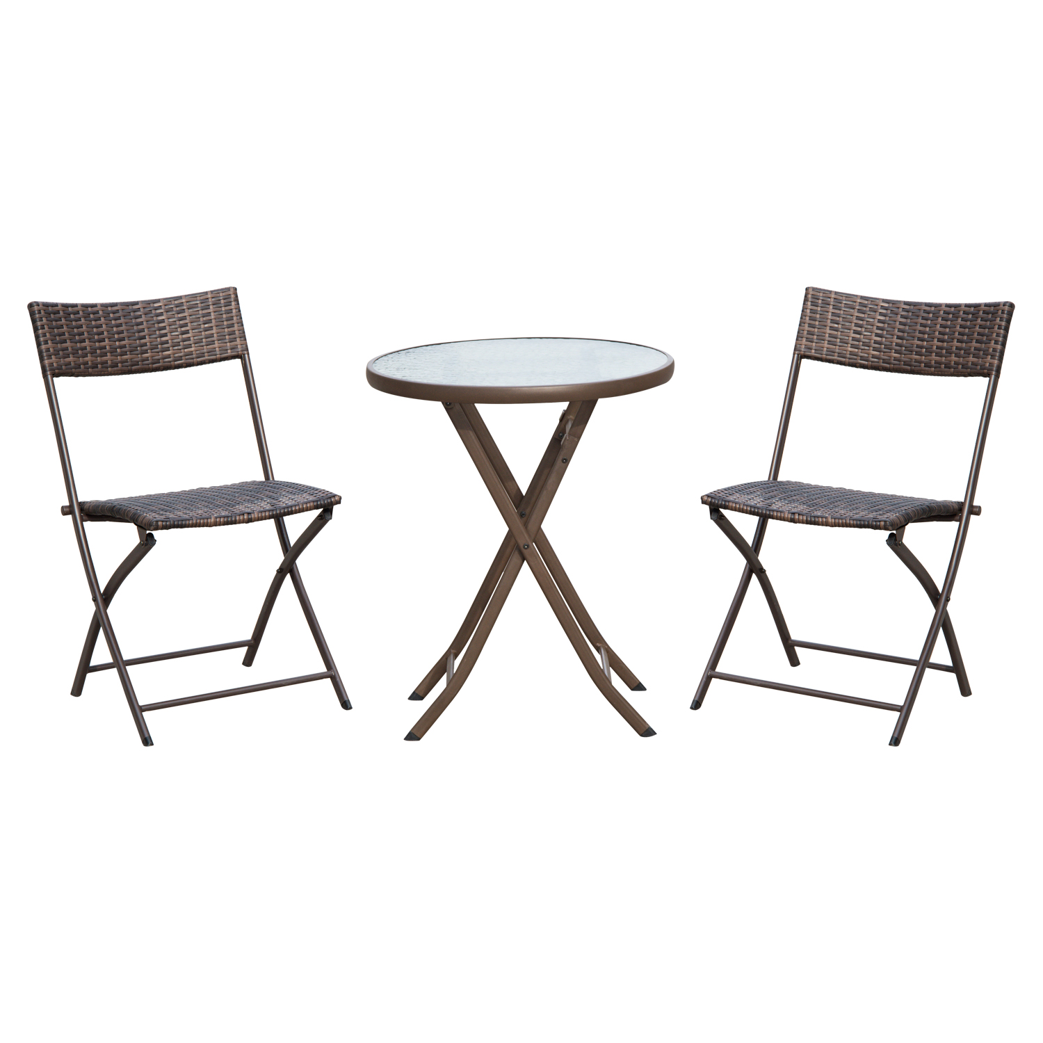 Image of £60.99 Outsunny 3pc Wicker Rattan Bistro Set-Brown / Set 2 Folding Chair Glass Topped Coffee Table Garden Patio Balcony Outdoor Furniture - Brown 3 Pieces Square Steel 863-029 5056029885994