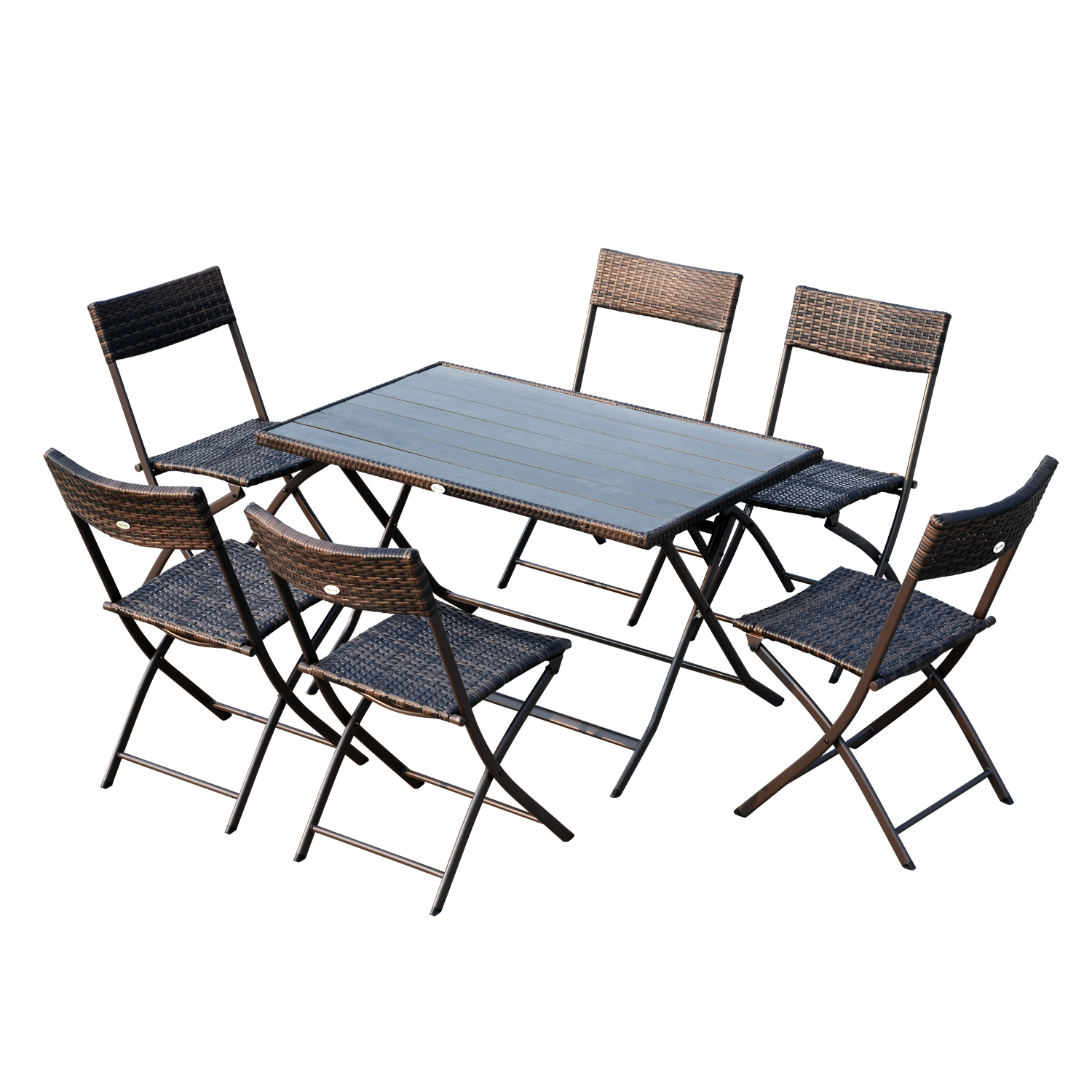 Image of £142.99 Outsunny 7pc Patio Wicker Rattan Dining Set-Brown / Set 6 Folding Chair Polywood Top Table Outdoor Lawn Garden Furniture - Brown 7 Pieces Foldable Steel 863-032 5056029886007