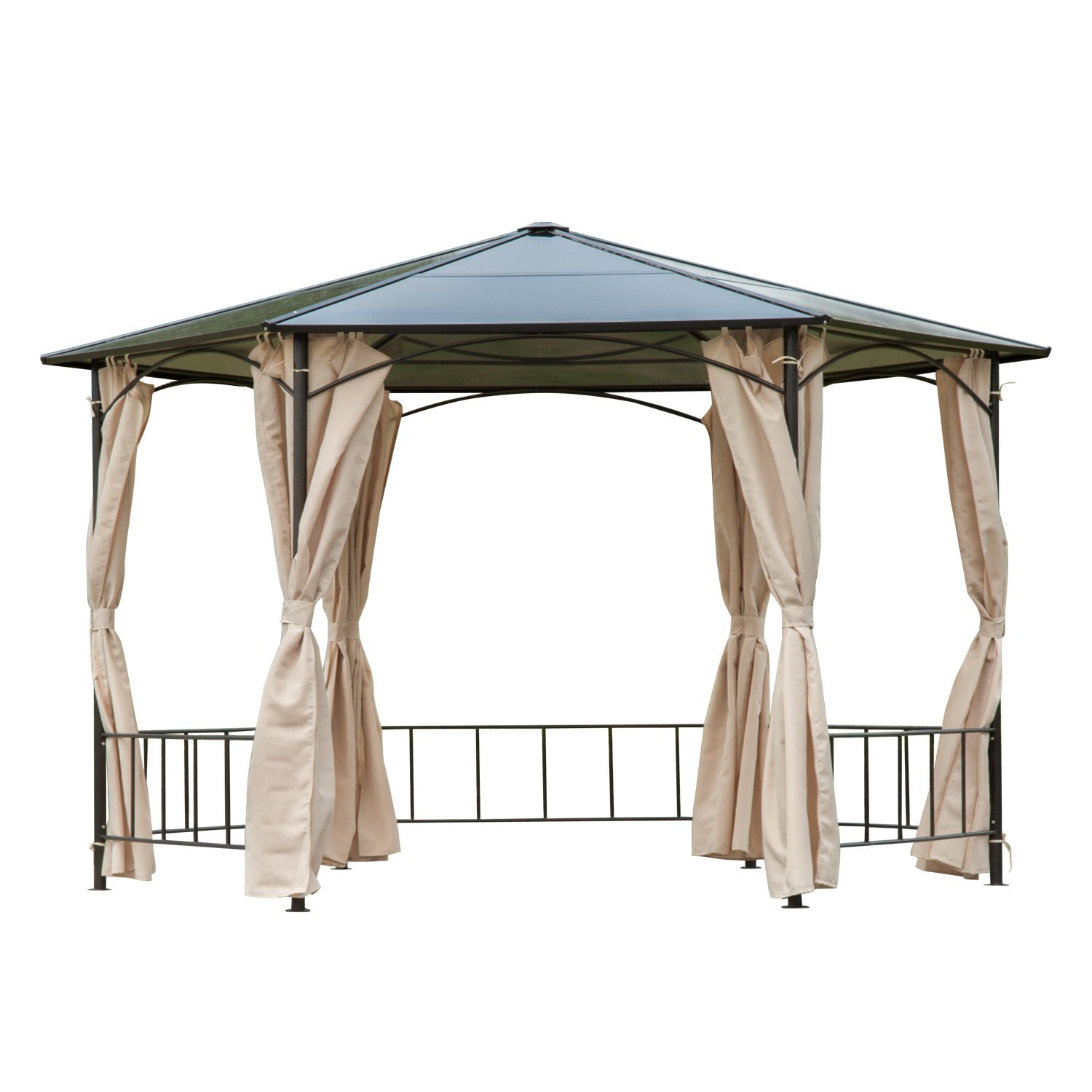 Image of £467.99 Outsunny 2m Hexagonal Patio Metal Gazebo-Brown/Beige / Gazebo Sun Shade Canopy Marquee Party Tent Garden Shelter Polycarbonate Roof w/Side Wall Curtain Side Brown 84C-070 5056029886380