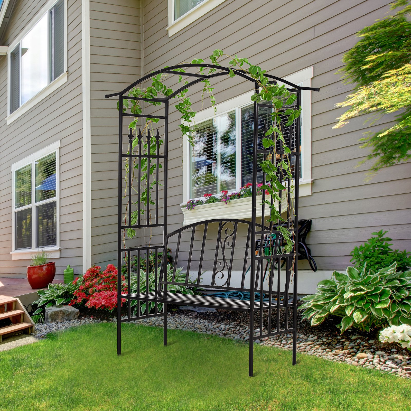 Outsunny Steel Frame Outdoor Garden Arch w/ 2-Seater Bench Black