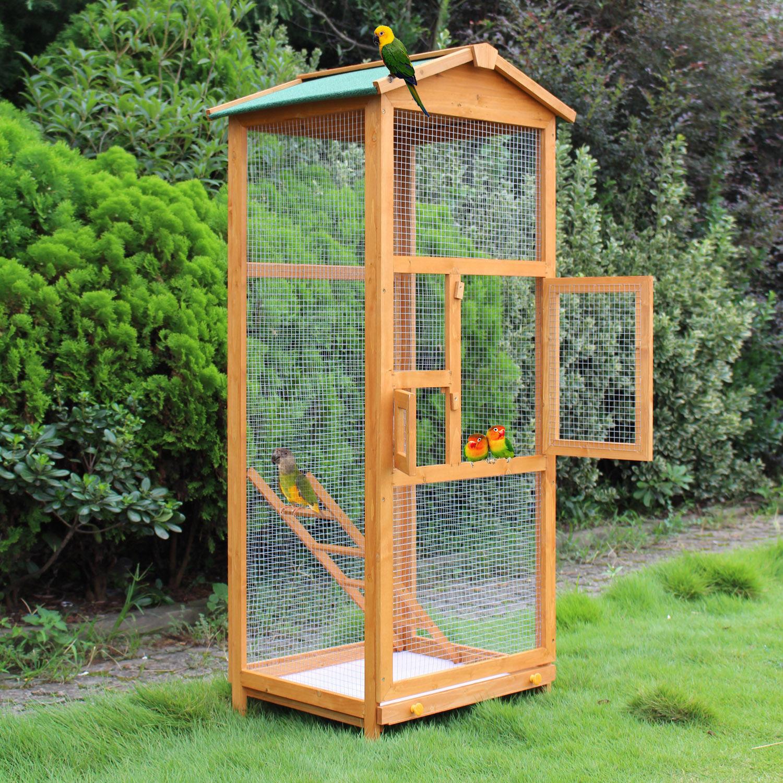 PawHut Pine Wood 2-Door Waterproof Bird Cage Wood Tone