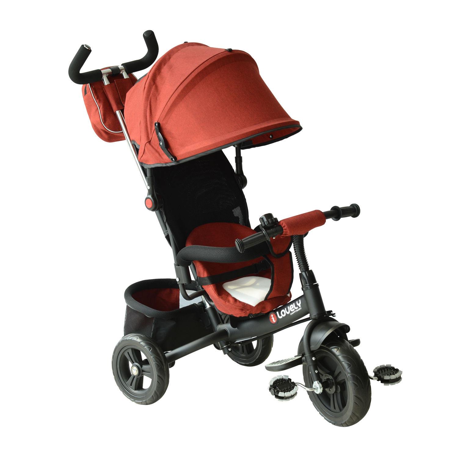 HOMCOM Kids Polyester Sun Canopy Ride-On Tricycle w/ Parent Handle Red