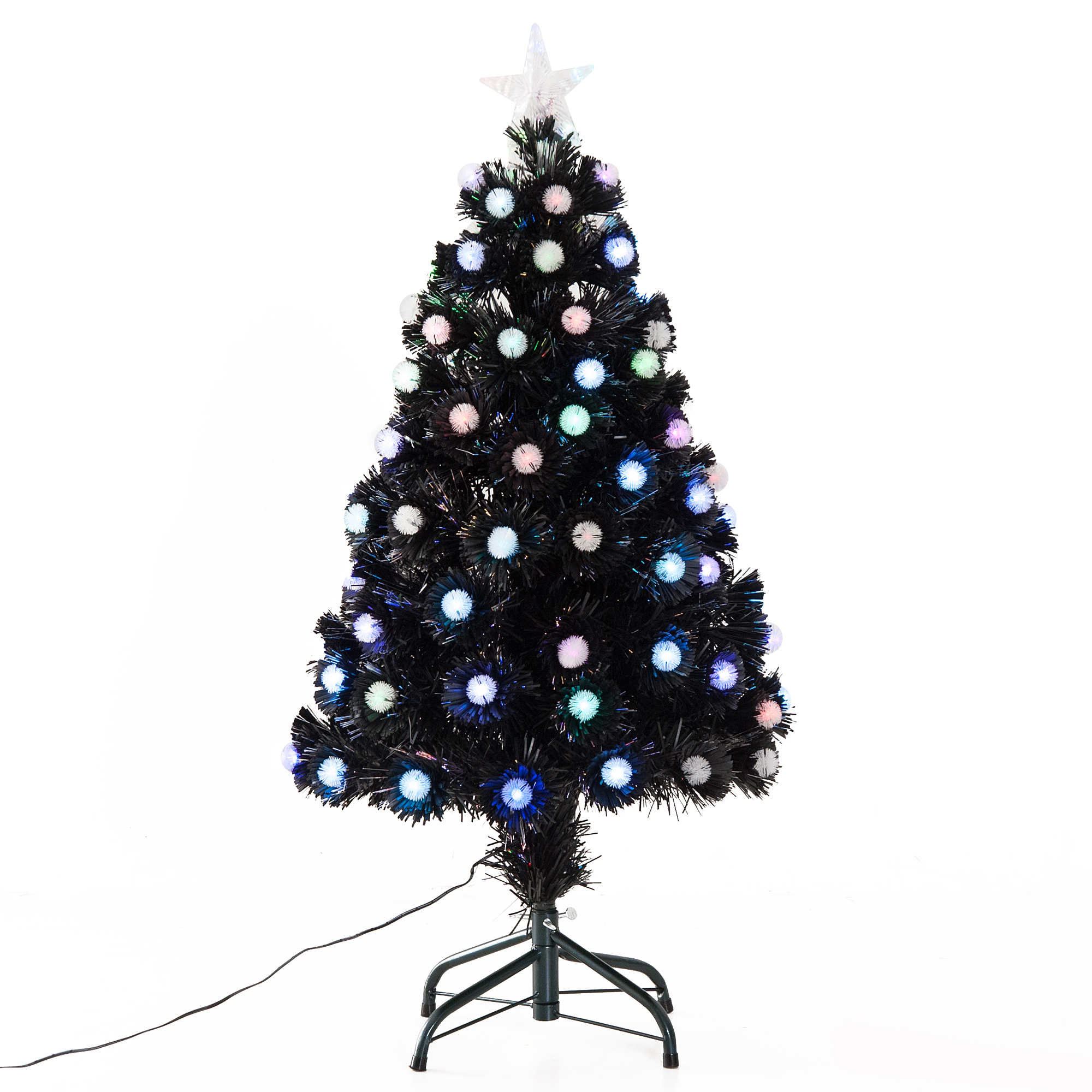 Image of £28.99 HOMCOM 90cm Artificial Christmas Tree W/80 pcs LED / 3ft Fibre Optic Xmas Pre-lit Holiday Décor with Metal Stand Entrance Lights 80 Tips Star Steel 830-202 5056029807538